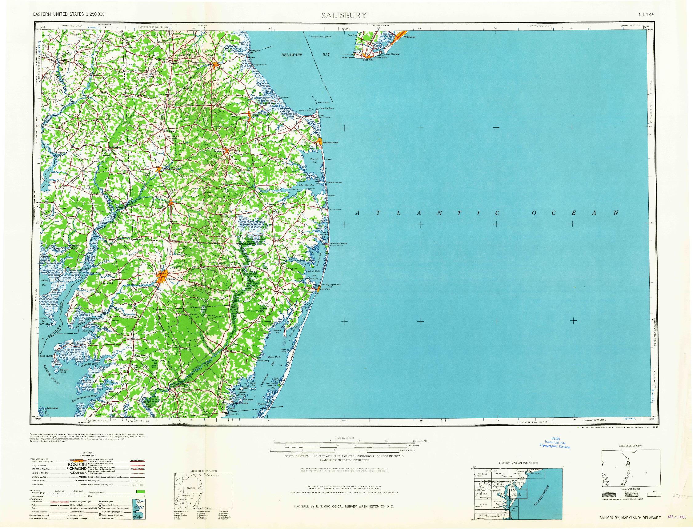 USGS 1:250000-SCALE QUADRANGLE FOR SALISBURY, MD 1965