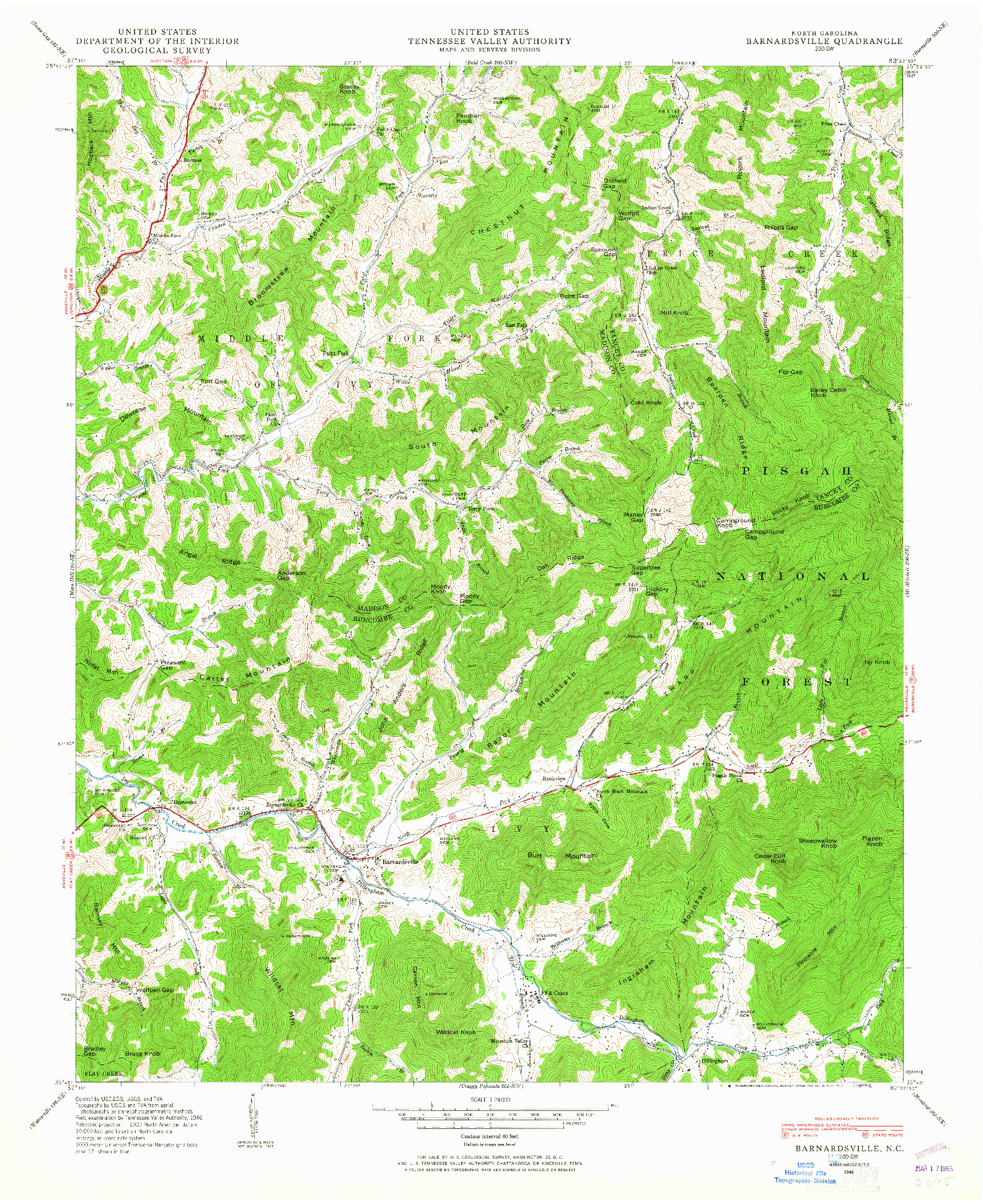 USGS 1:24000-SCALE QUADRANGLE FOR BARNARDSVILLE, NC 1946