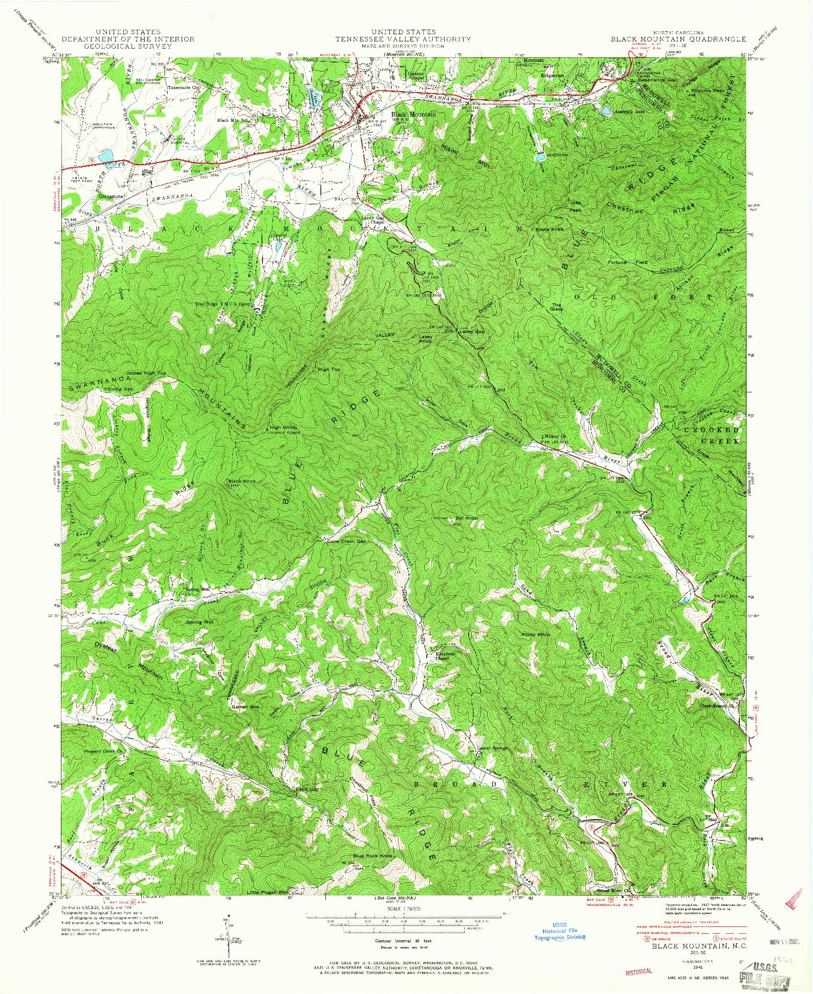 USGS 1:24000-SCALE QUADRANGLE FOR BLACK MOUNTAIN, NC 1941