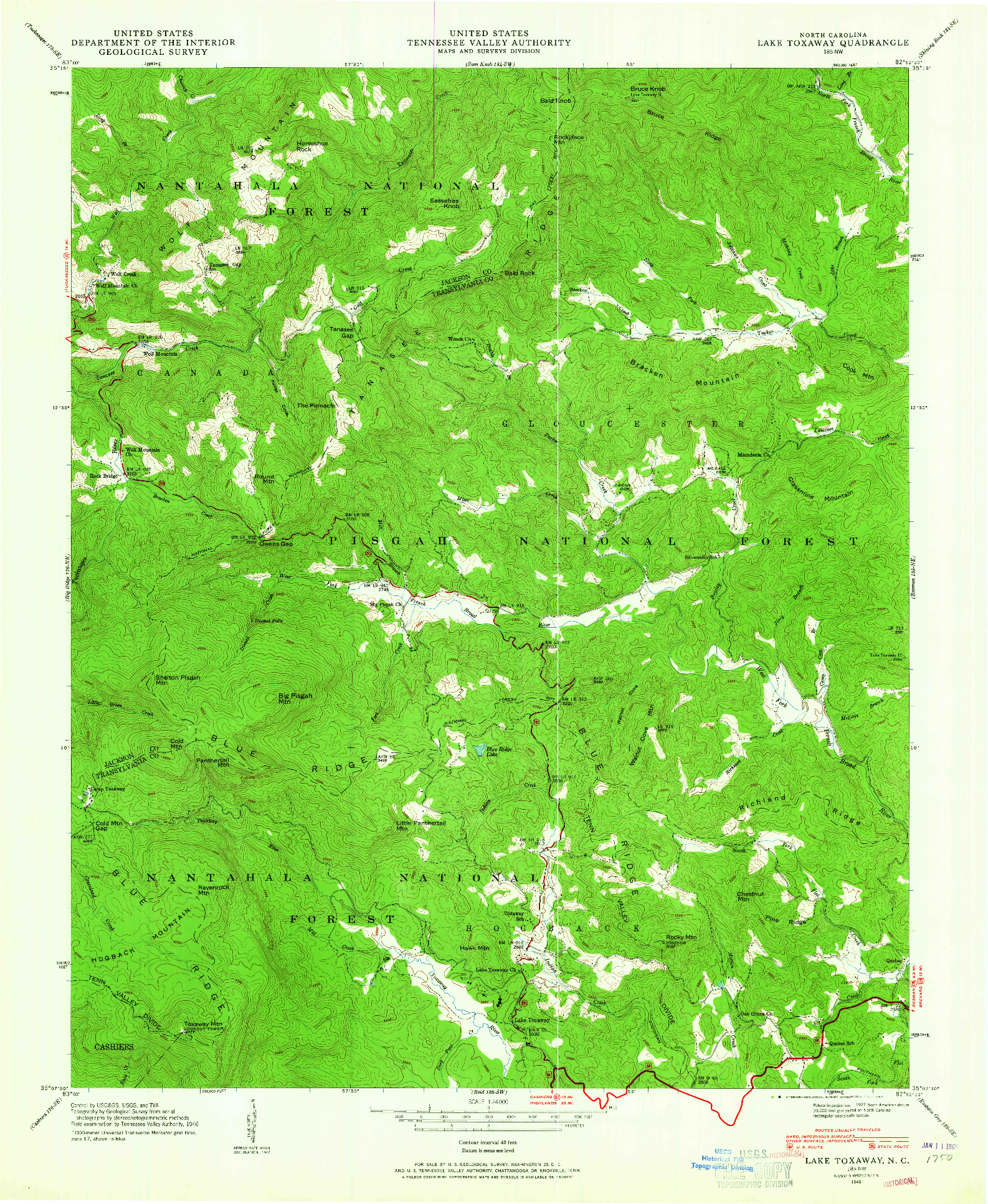USGS 1:24000-SCALE QUADRANGLE FOR LAKE TOXAWAY, NC 1946