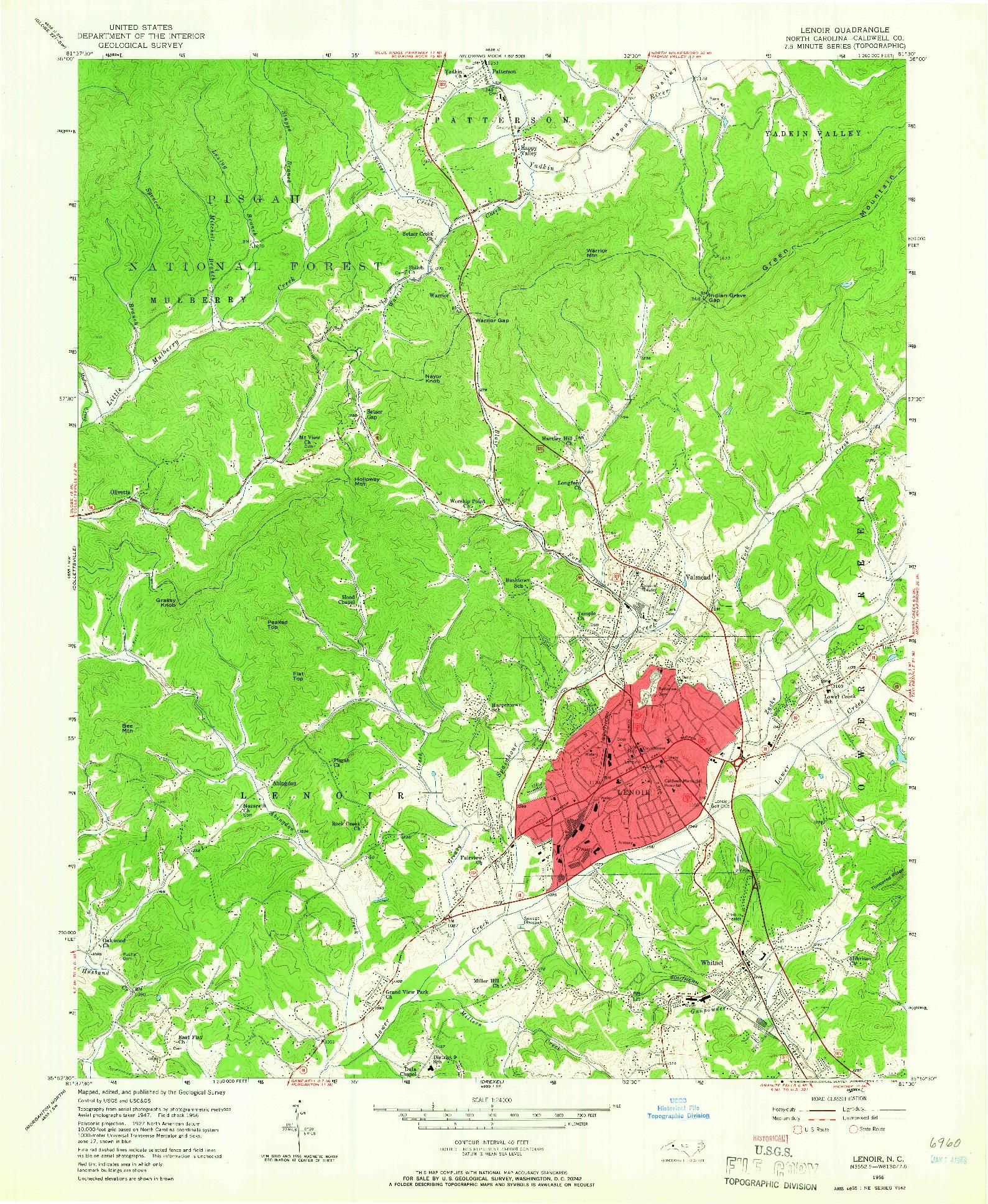 USGS 1:24000-SCALE QUADRANGLE FOR LENOIR, NC 1956