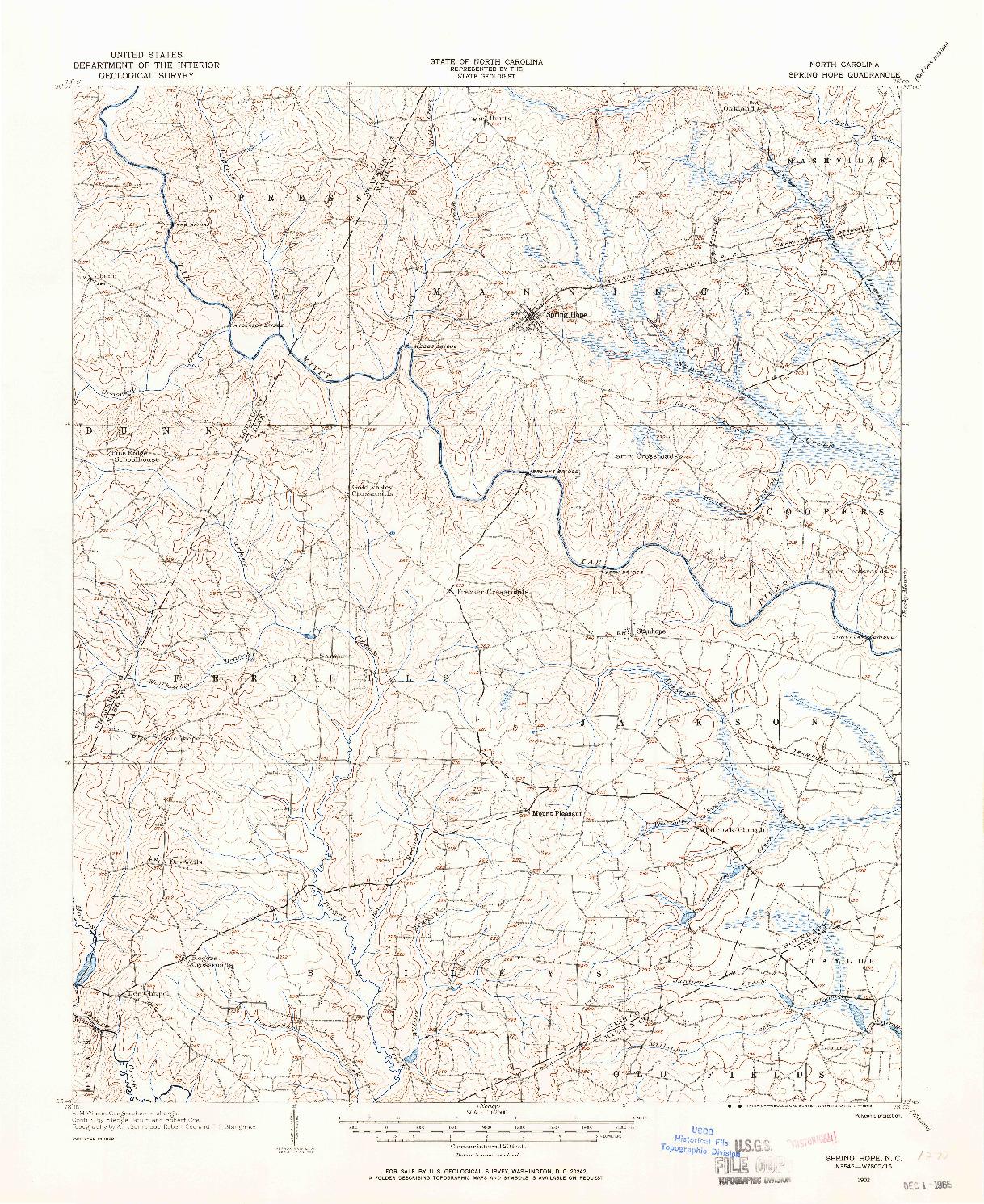 USGS 1:62500-SCALE QUADRANGLE FOR SPRING HOPE, NC 1902