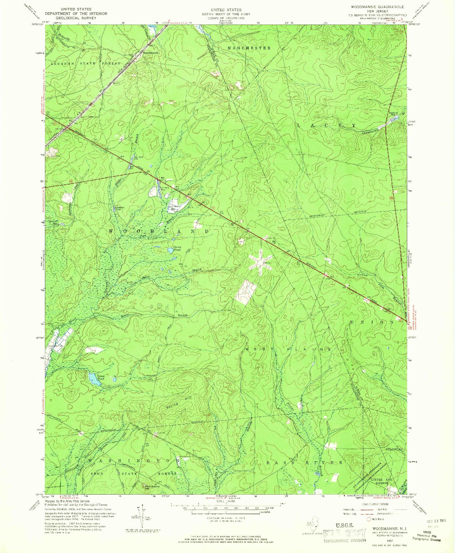 USGS 1:24000-SCALE QUADRANGLE FOR WOODMANSIE, NJ 1957
