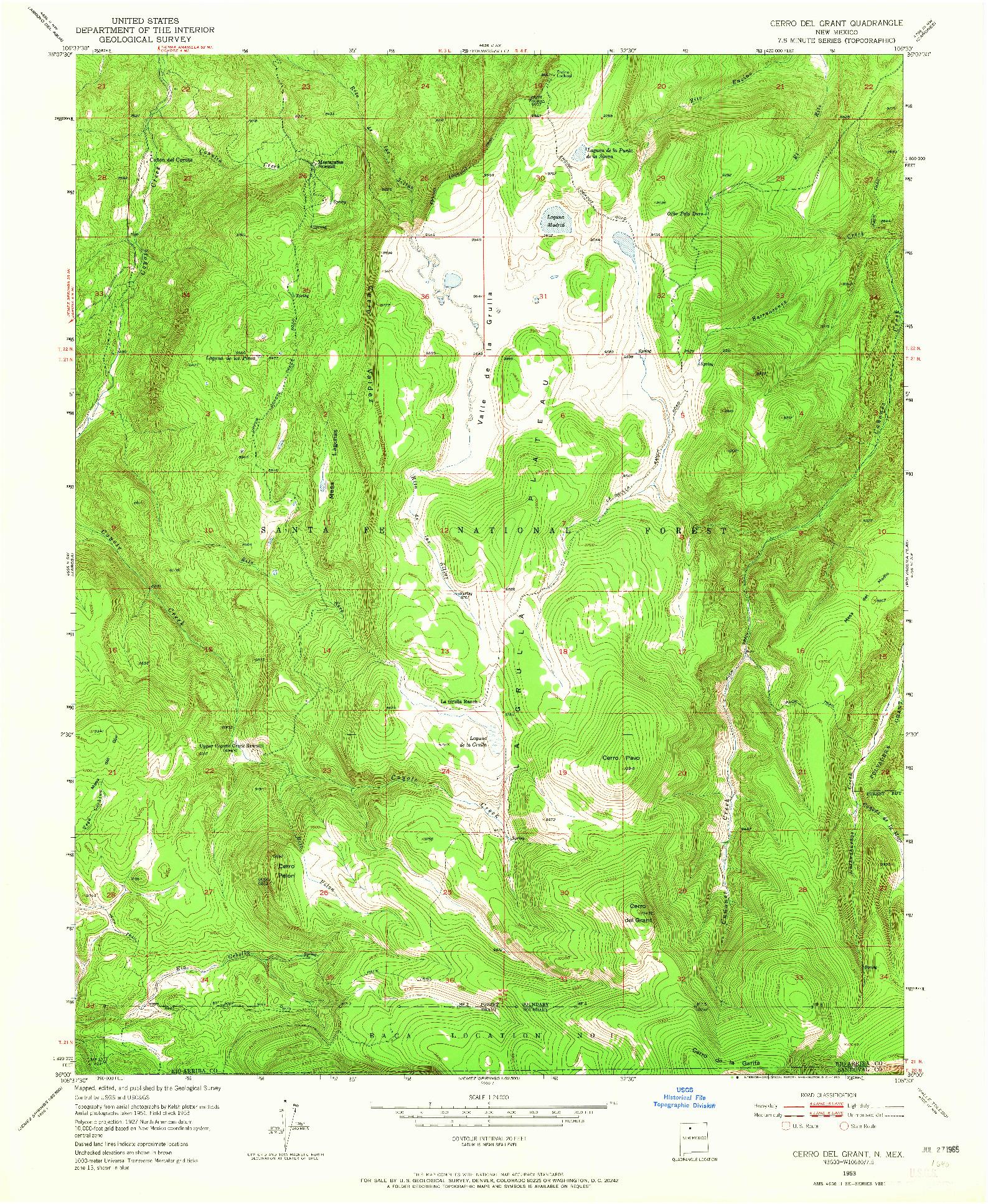 USGS 1:24000-SCALE QUADRANGLE FOR CERRO DEL GRANT, NM 1953
