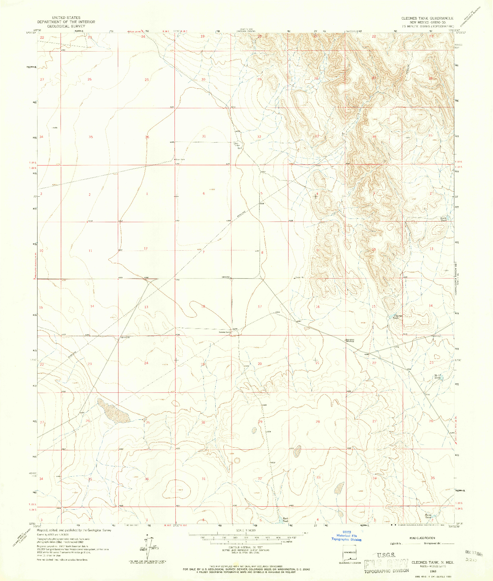 USGS 1:24000-SCALE QUADRANGLE FOR CLEONES TANK, NM 1963