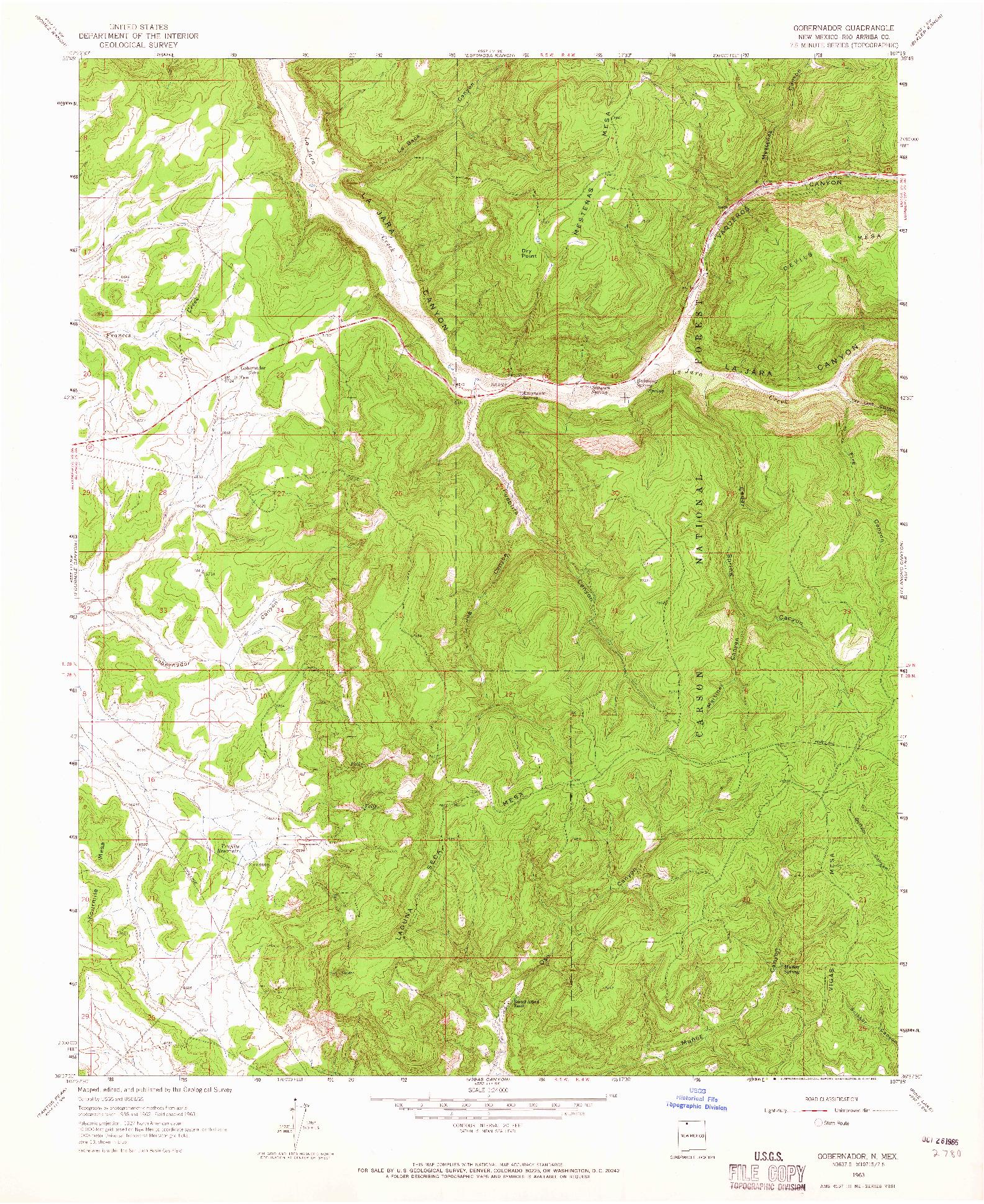 USGS 1:24000-SCALE QUADRANGLE FOR GOBERNADOR, NM 1963
