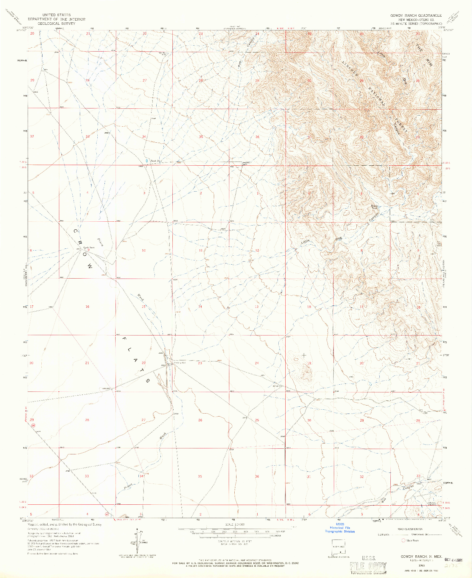 USGS 1:24000-SCALE QUADRANGLE FOR GOWDY RANCH, NM 1963