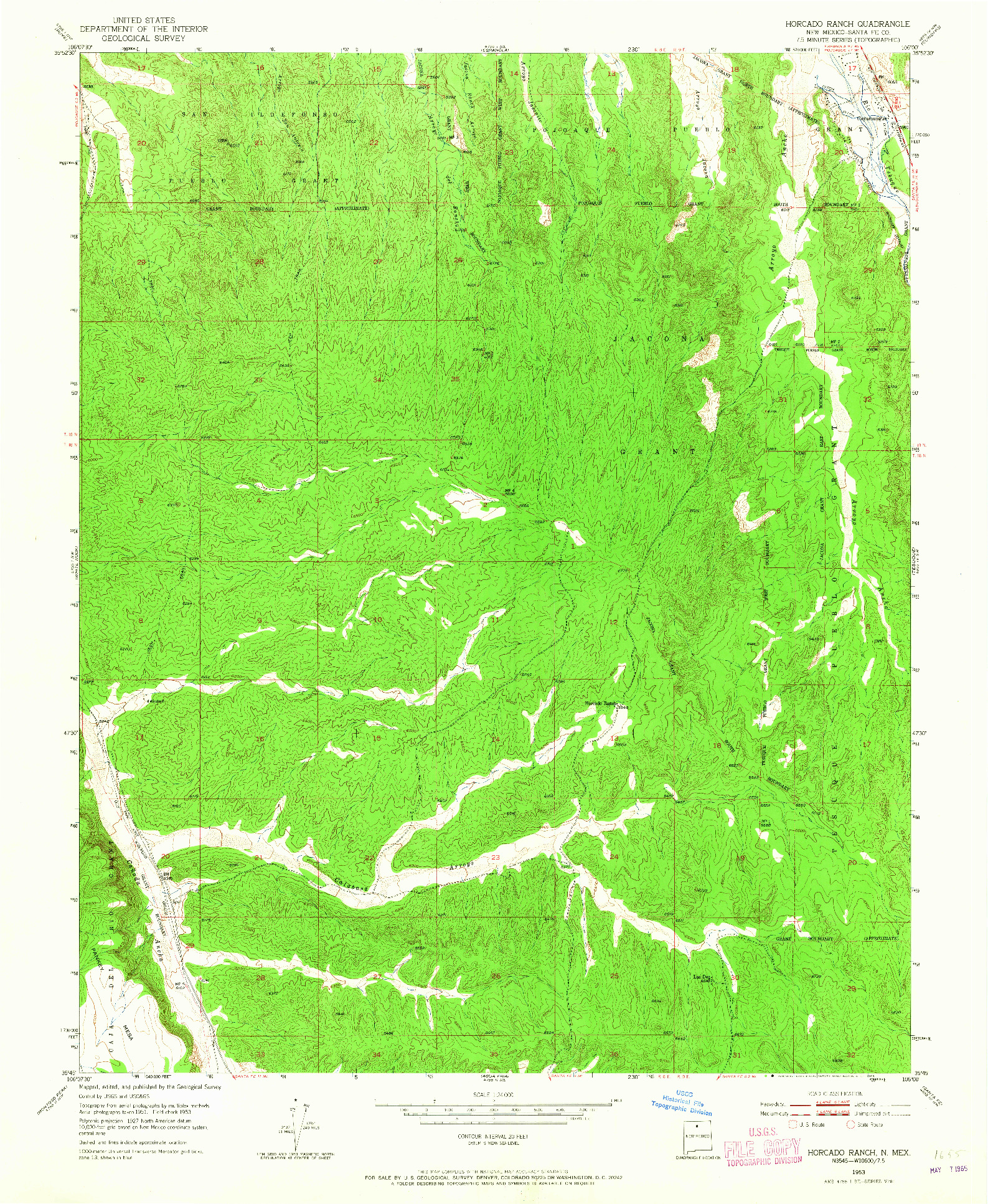 USGS 1:24000-SCALE QUADRANGLE FOR HORCADO RANCH, NM 1953