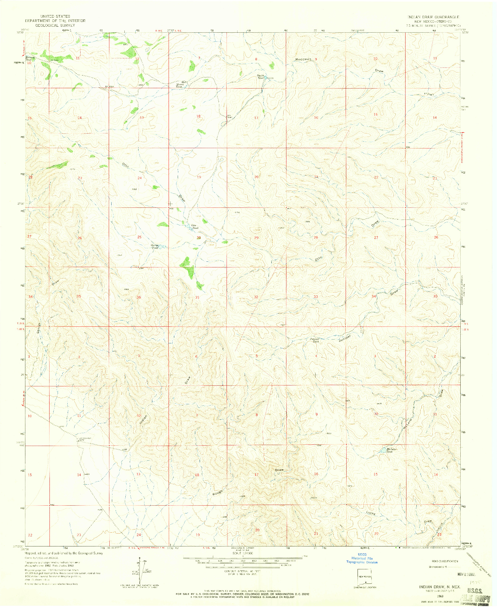 USGS 1:24000-SCALE QUADRANGLE FOR INDIAN DRAW, NM 1963