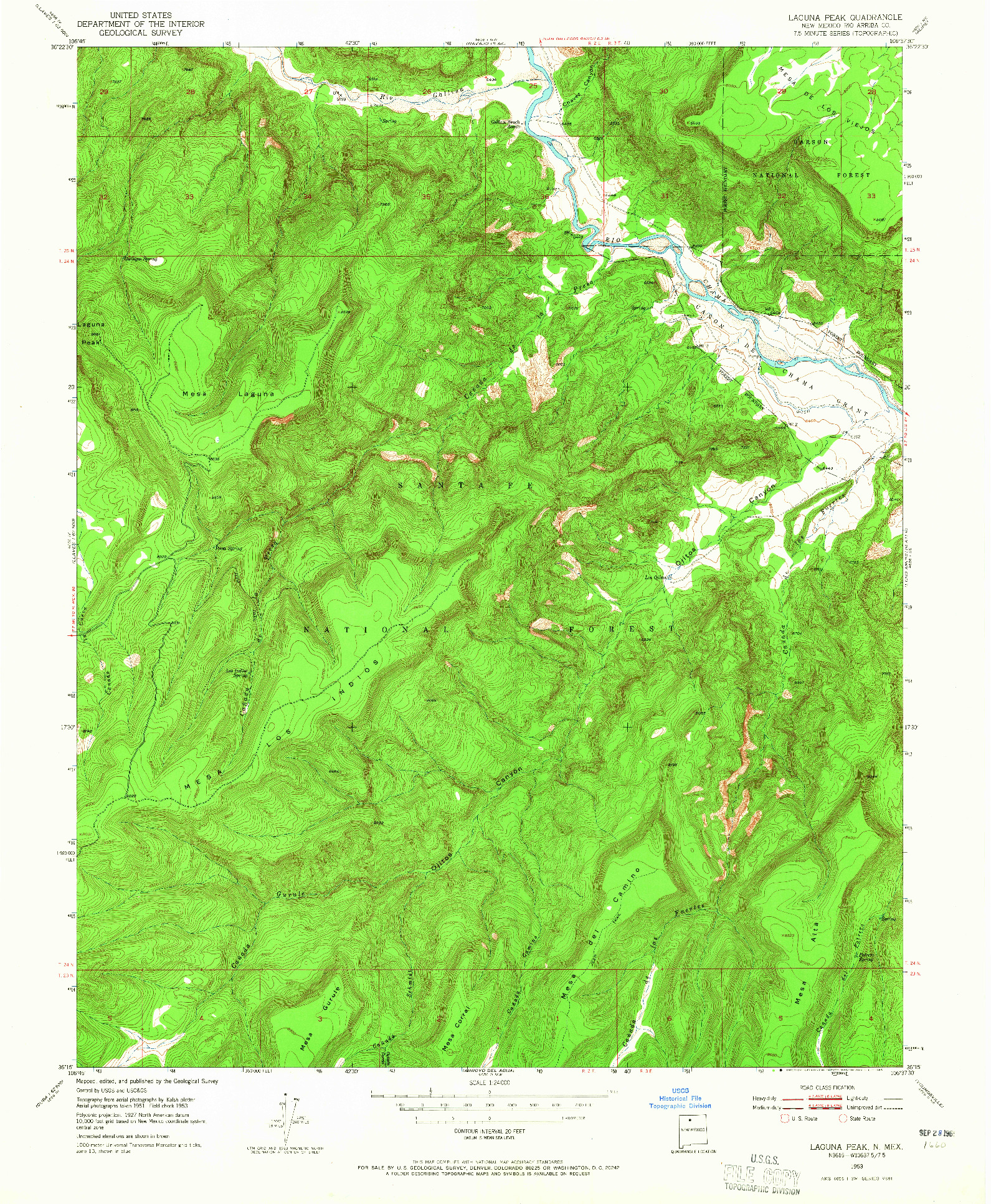 USGS 1:24000-SCALE QUADRANGLE FOR LAGUNA PEAK, NM 1953