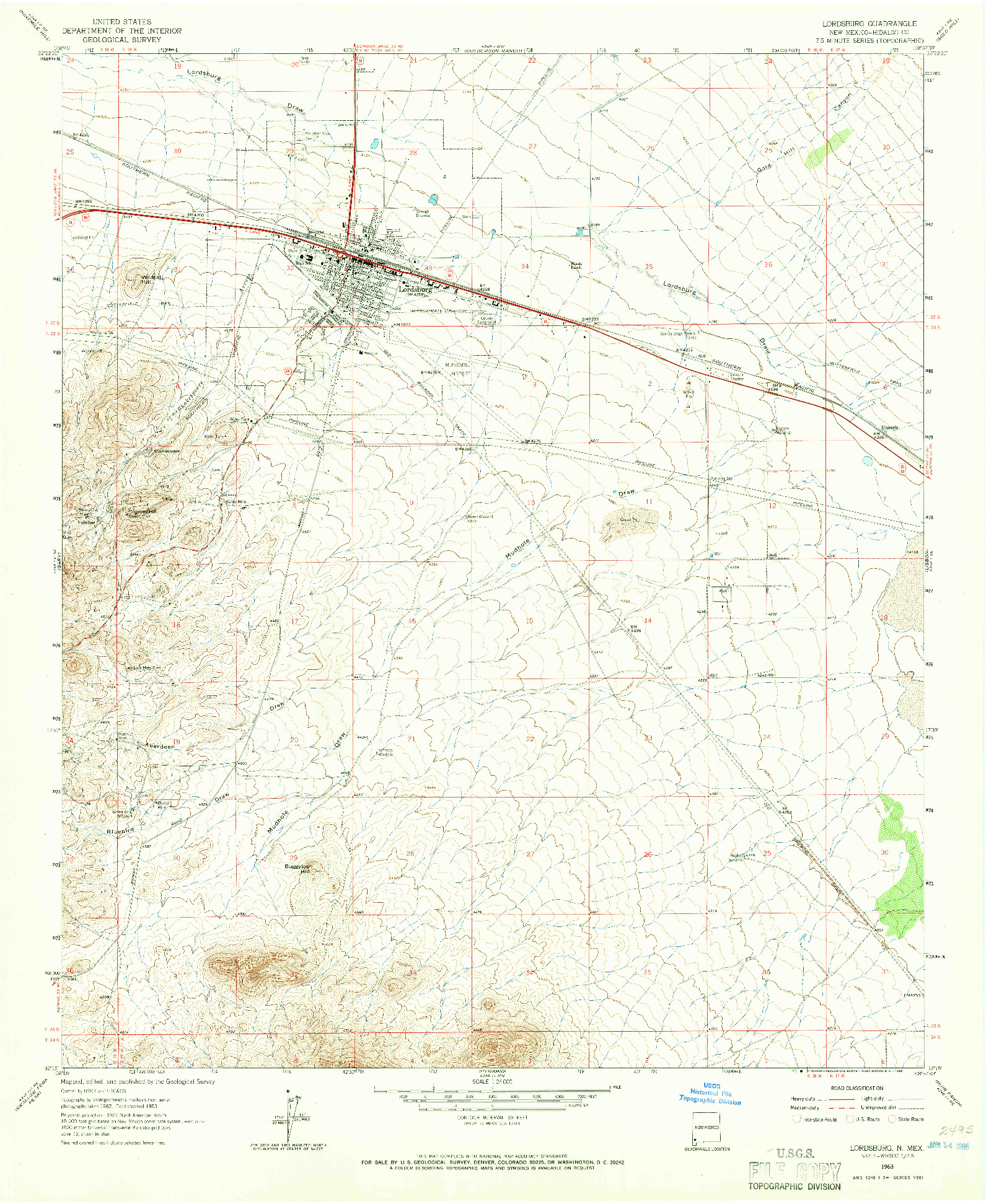 USGS 1:24000-SCALE QUADRANGLE FOR LORDSBURG, NM 1963