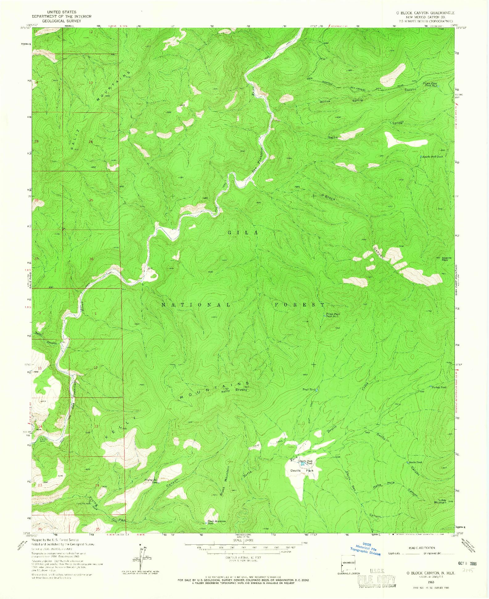 USGS 1:24000-SCALE QUADRANGLE FOR O BLOCK CANYON, NM 1963
