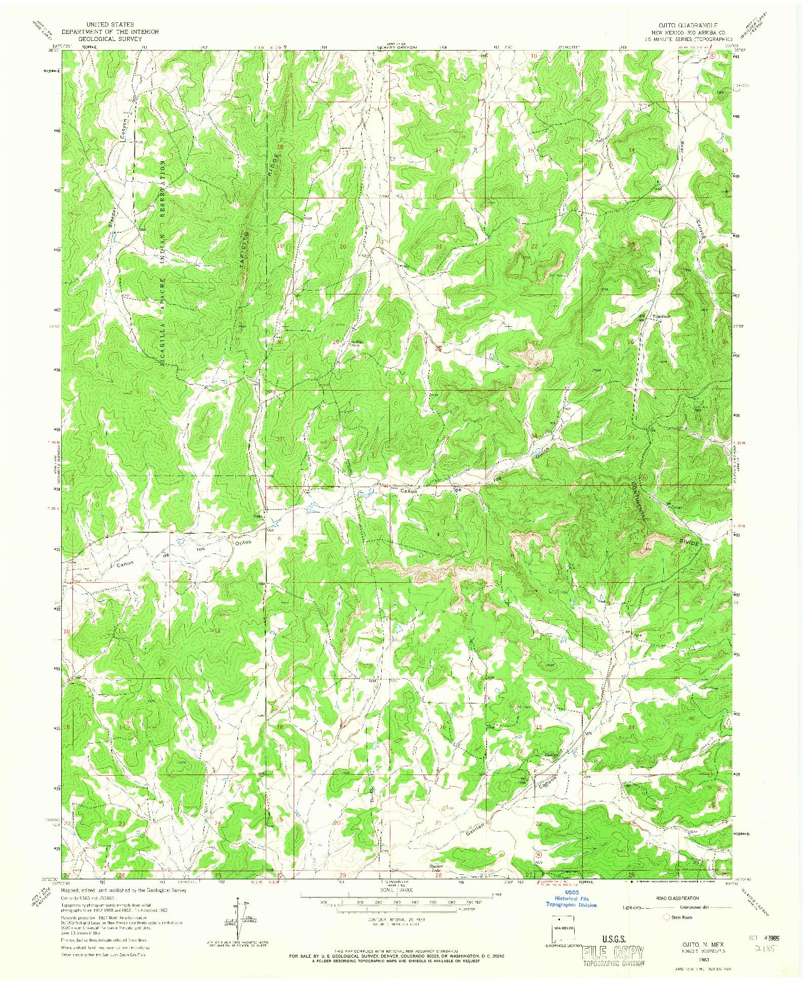 USGS 1:24000-SCALE QUADRANGLE FOR OJITO, NM 1963