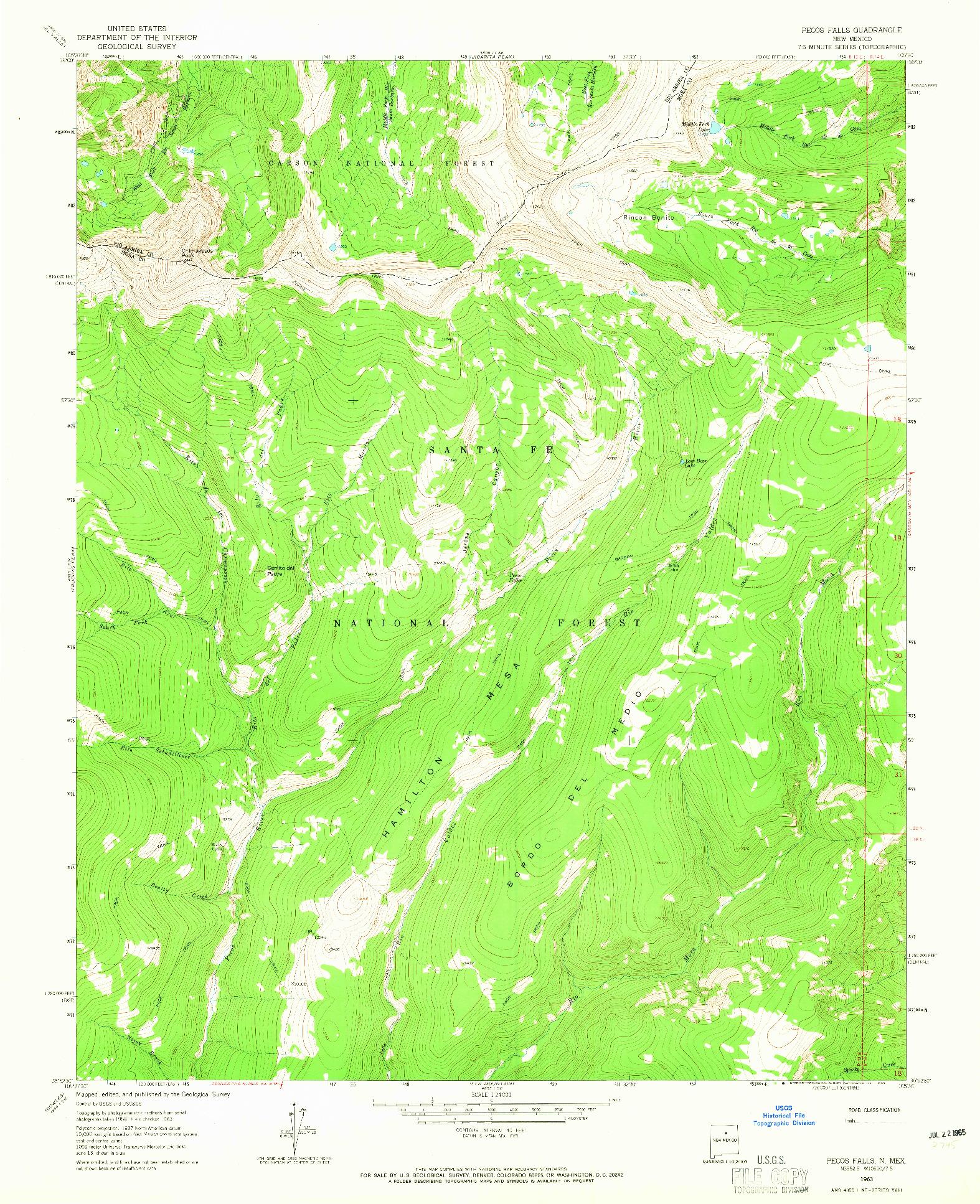 USGS 1:24000-SCALE QUADRANGLE FOR PECOS FALLS, NM 1963