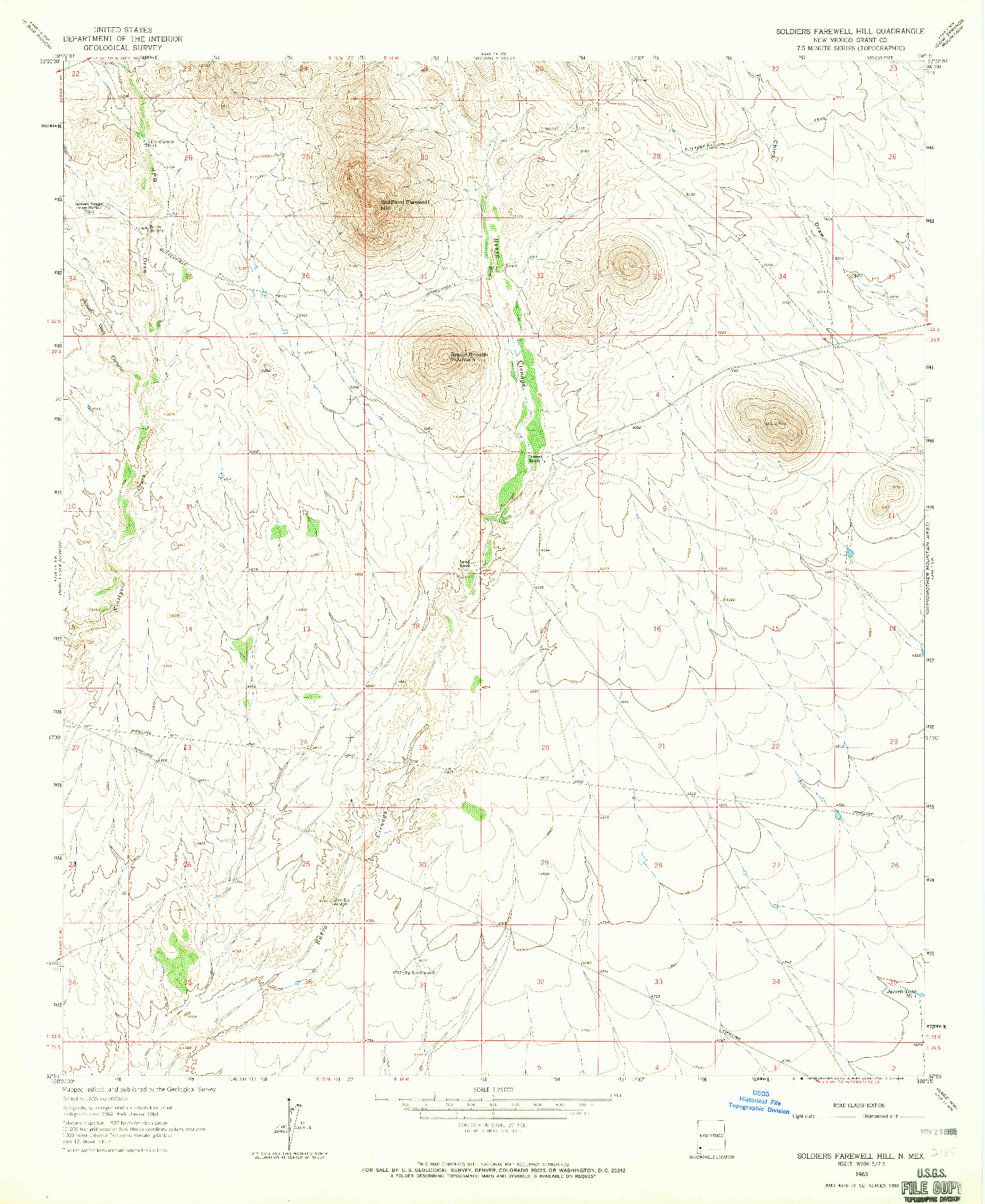 USGS 1:24000-SCALE QUADRANGLE FOR SOLDIERS FAREWELL HILL, NM 1963