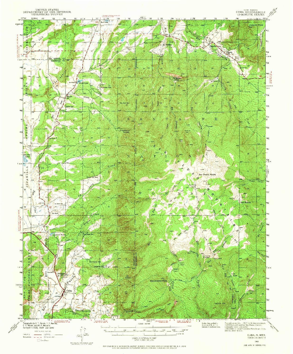 USGS 1:62500-SCALE QUADRANGLE FOR CUBA, NM 1940