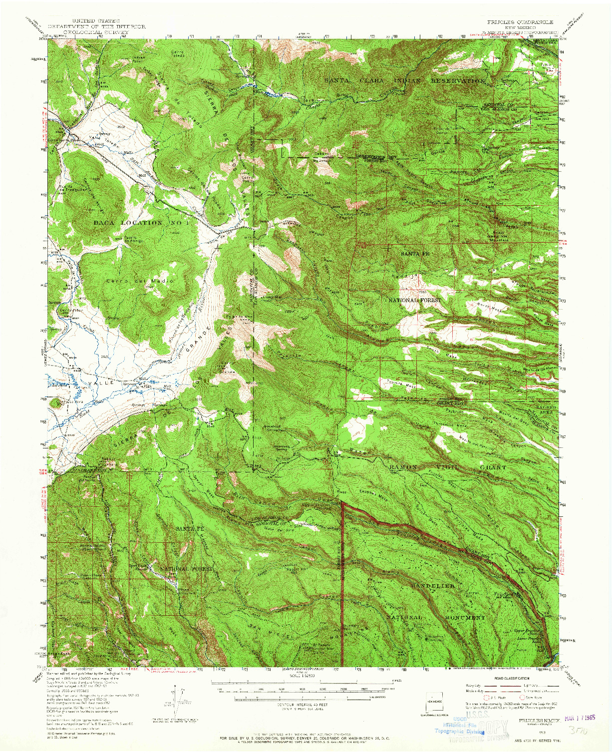 USGS 1:62500-SCALE QUADRANGLE FOR FRIJOLES, NM 1953