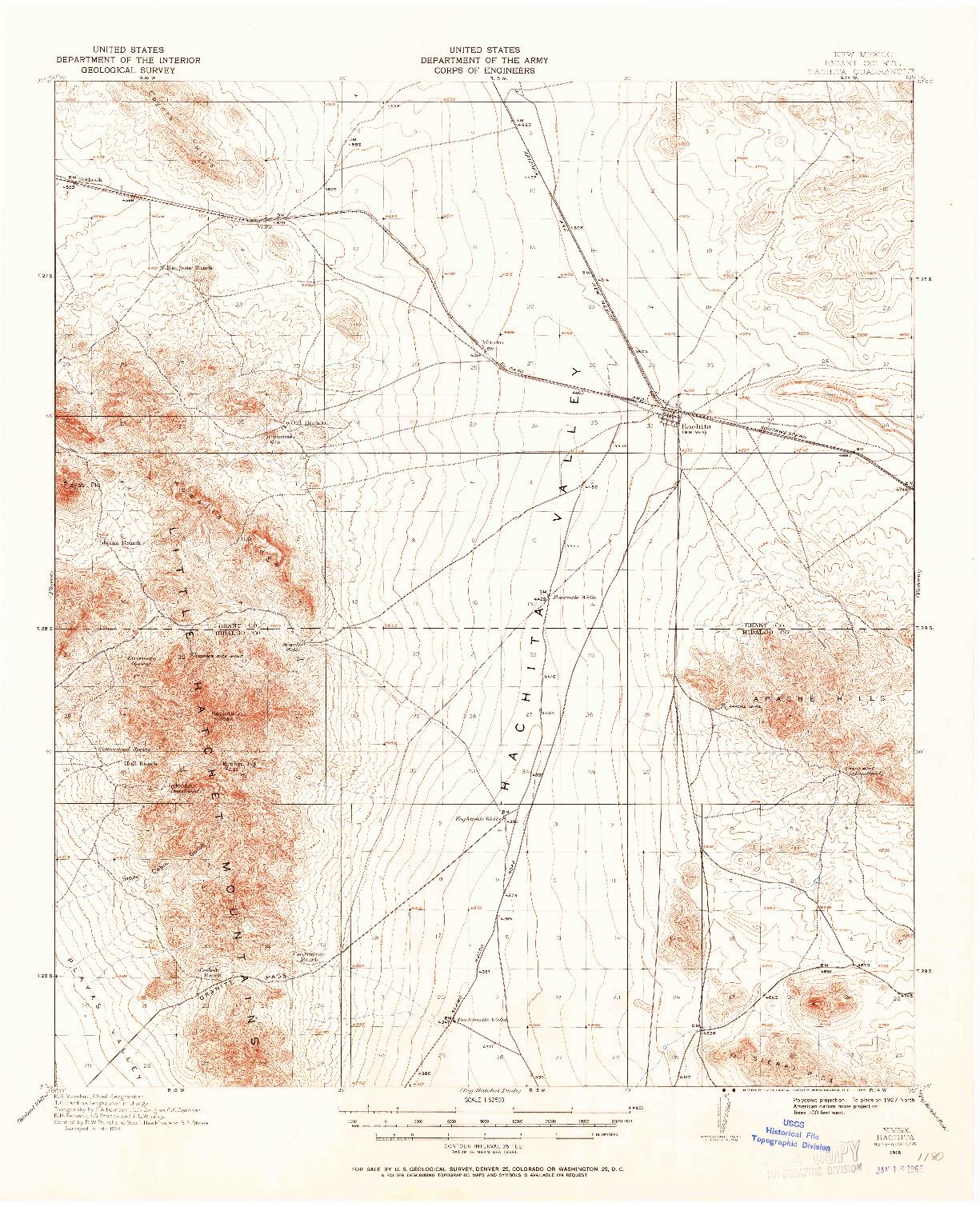 USGS 1:62500-SCALE QUADRANGLE FOR HACHITA, NM 1918