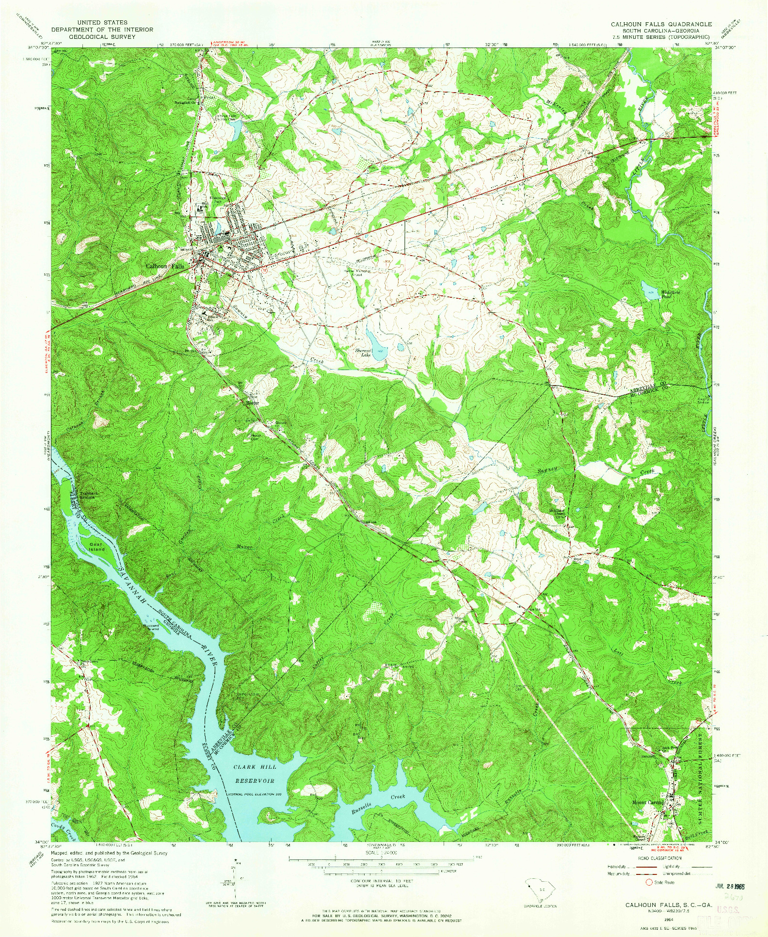 USGS 1:24000-SCALE QUADRANGLE FOR CALHOUN FALLS, SC 1964