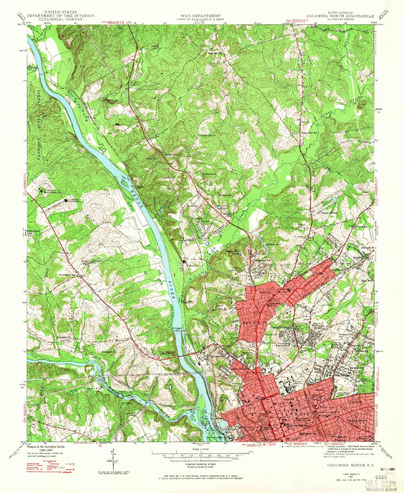USGS 1:24000-SCALE QUADRANGLE FOR COLUMBIA NORTH, SC 1947