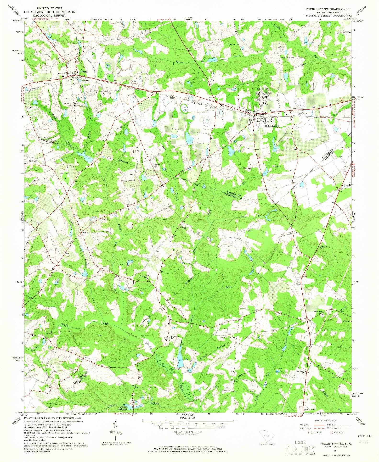 USGS 1:24000-SCALE QUADRANGLE FOR RIDGE SPRING, SC 1964