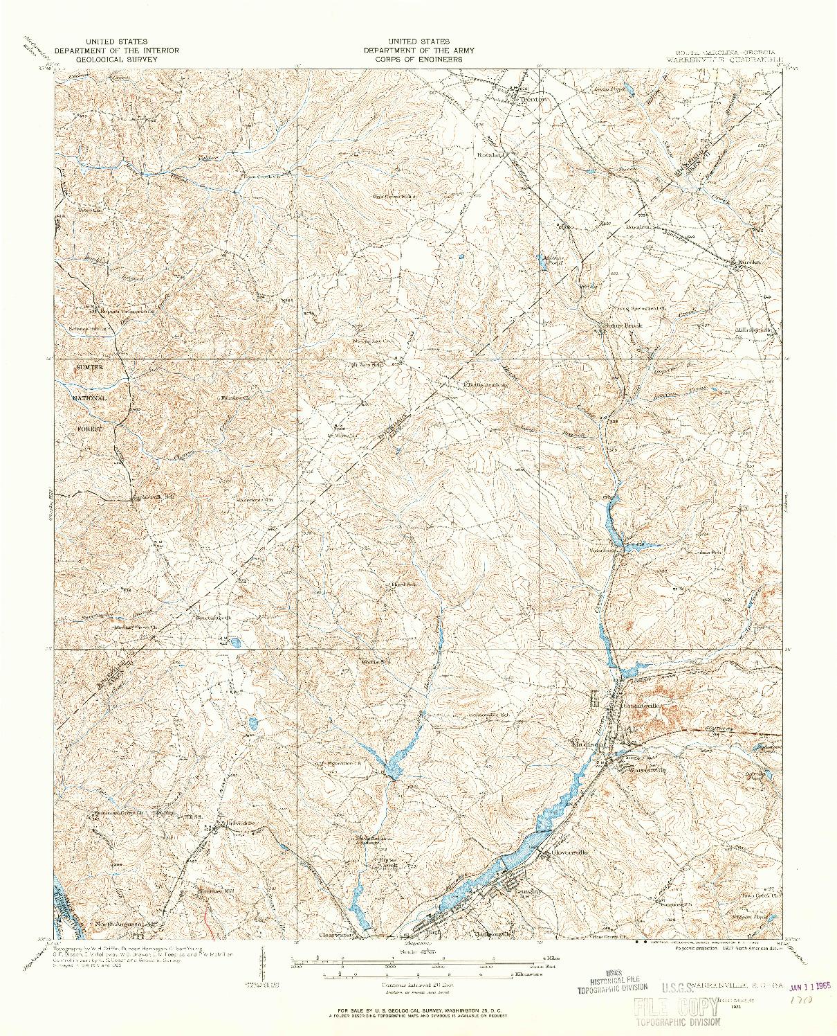 USGS 1:62500-SCALE QUADRANGLE FOR WARRENVILLE, SC 1923
