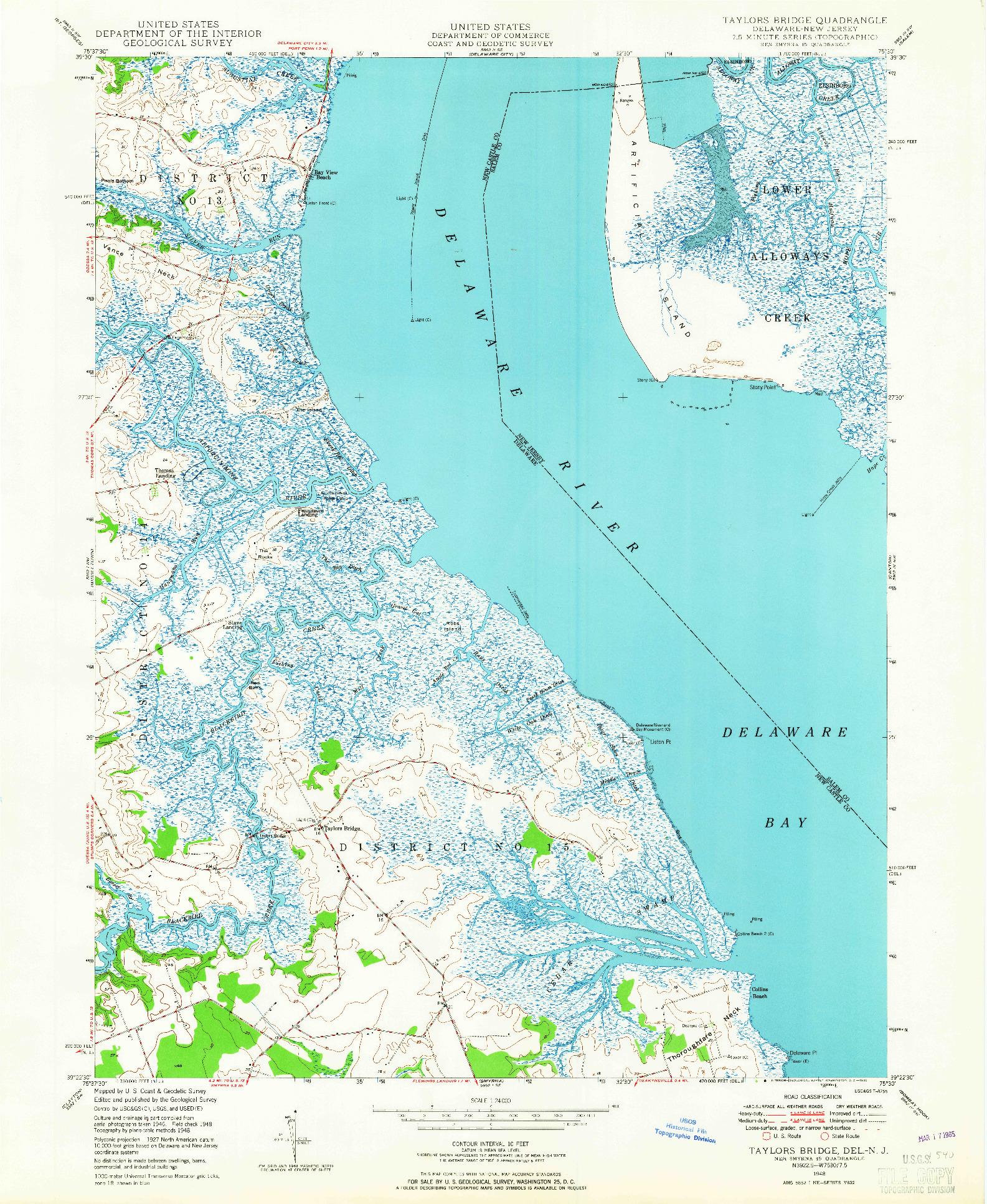 USGS 1:24000-SCALE QUADRANGLE FOR TAYLORS BRIDGE, DE 1948