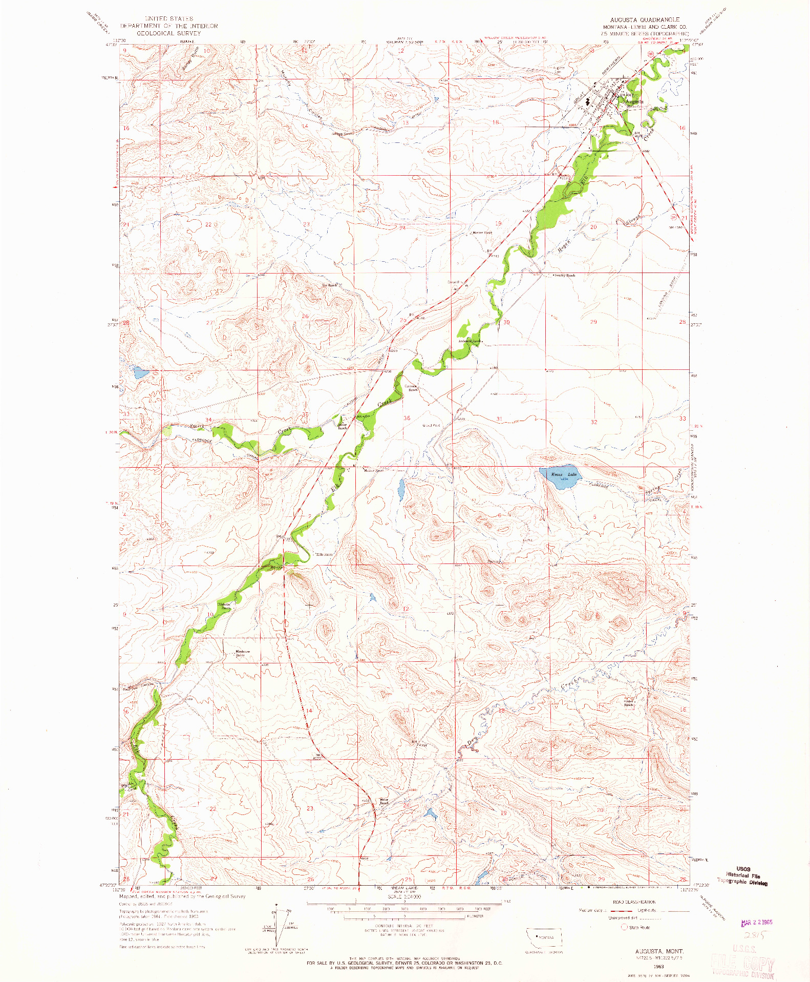 USGS 1:24000-SCALE QUADRANGLE FOR AUGUSTA, MT 1963