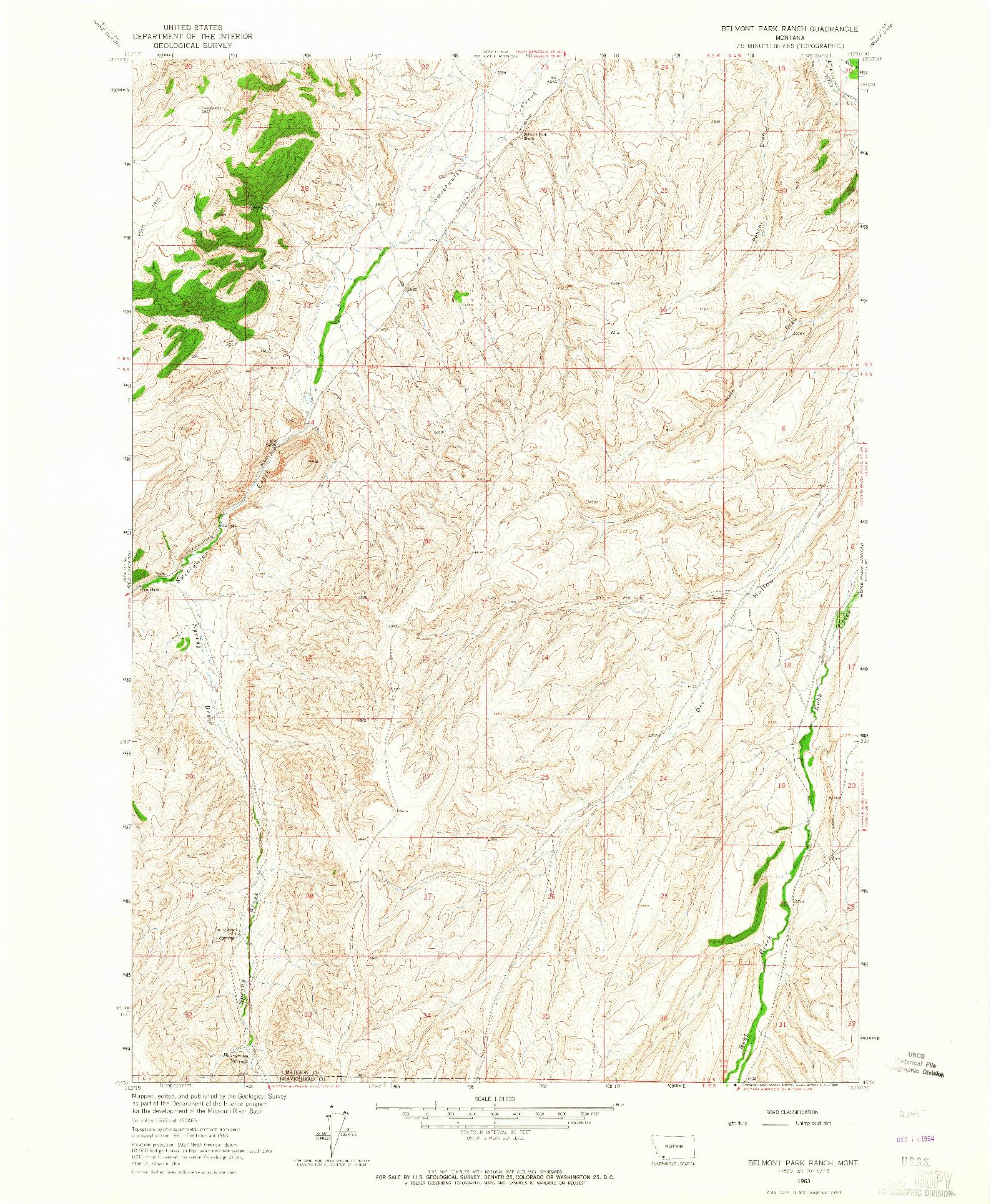USGS 1:24000-SCALE QUADRANGLE FOR BELMONT PARK RANCH, MT 1963