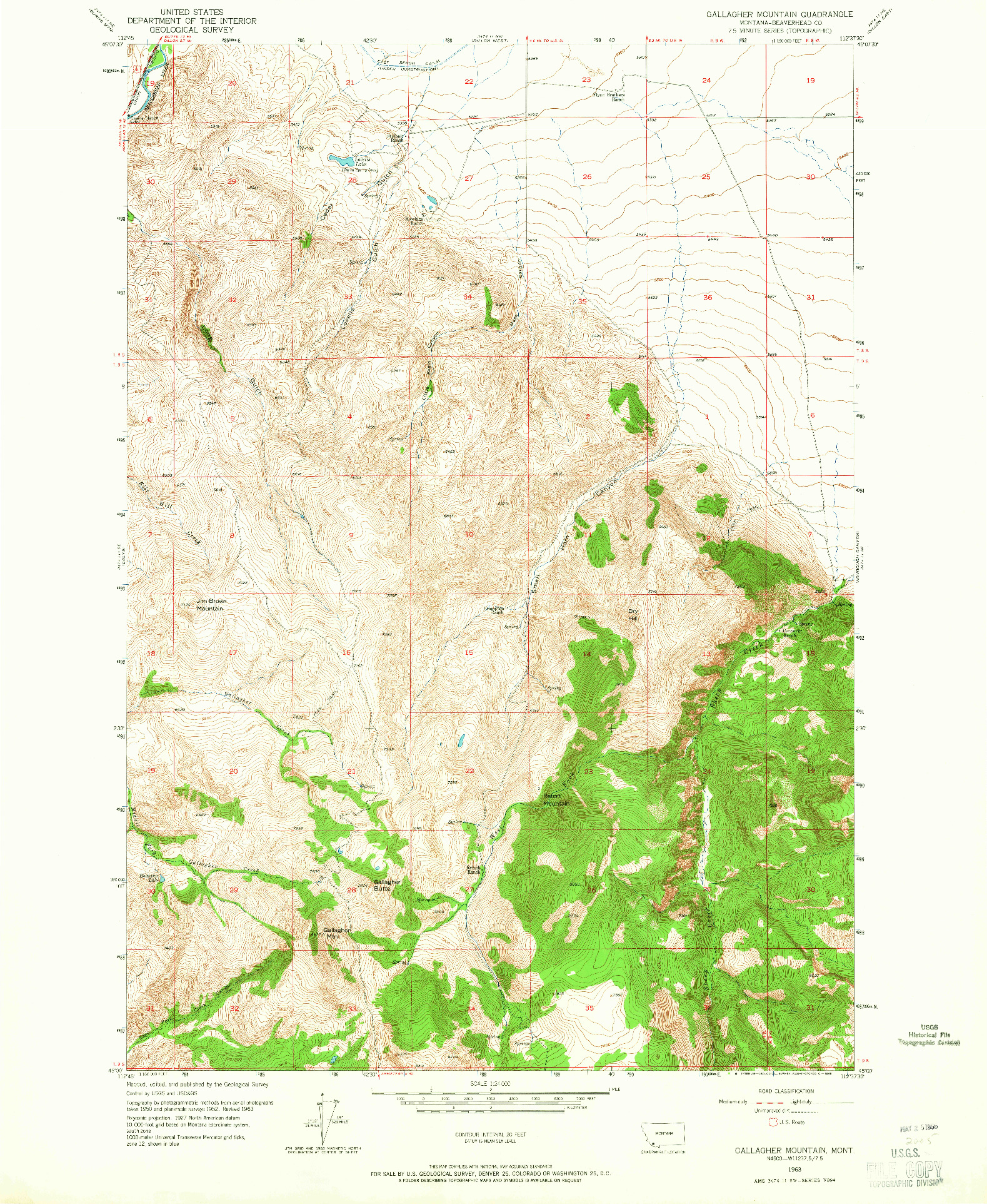 USGS 1:24000-SCALE QUADRANGLE FOR GALLAGHER MOUNTAIN, MT 1963