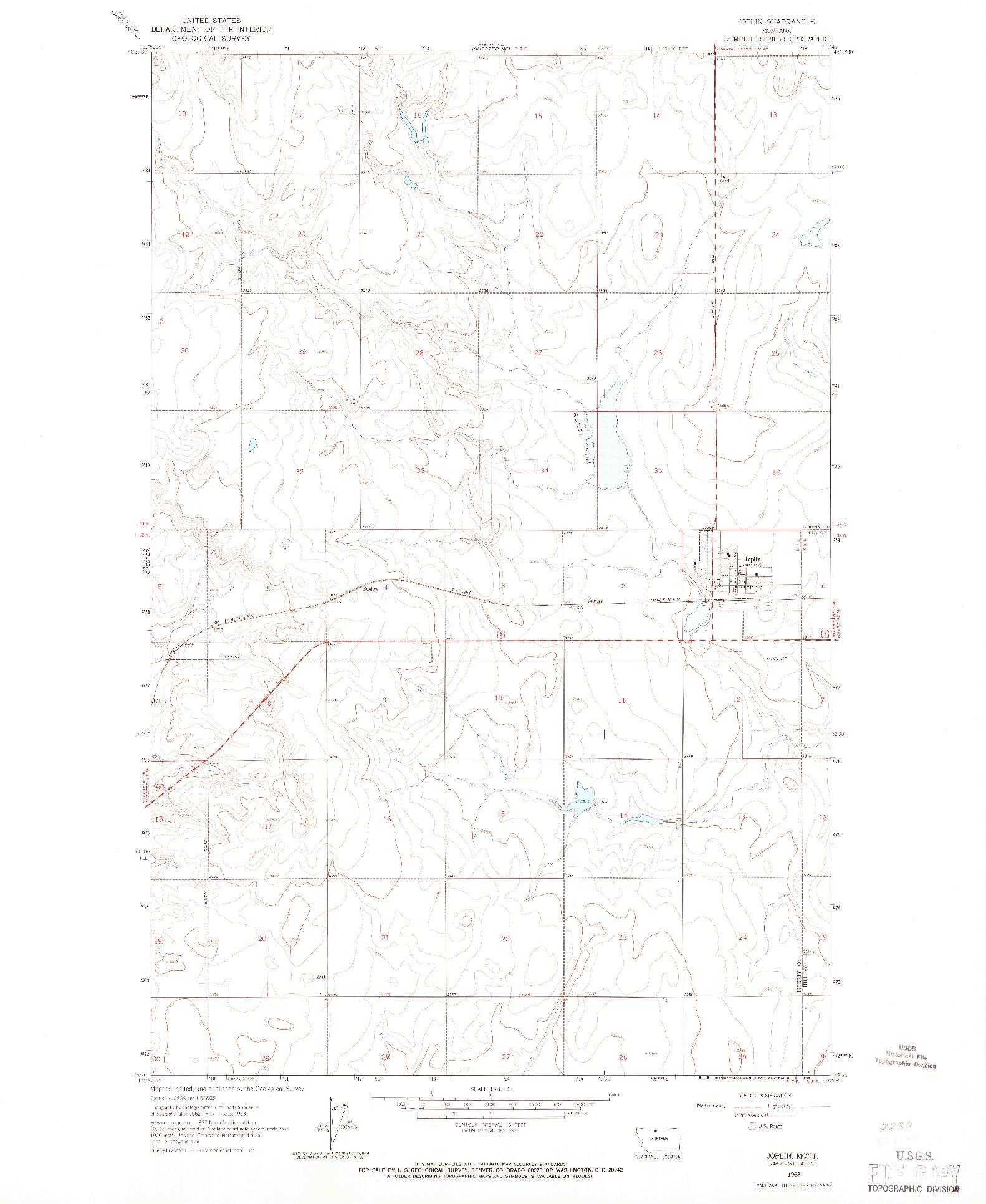USGS 1:24000-SCALE QUADRANGLE FOR JOPLIN, MT 1963