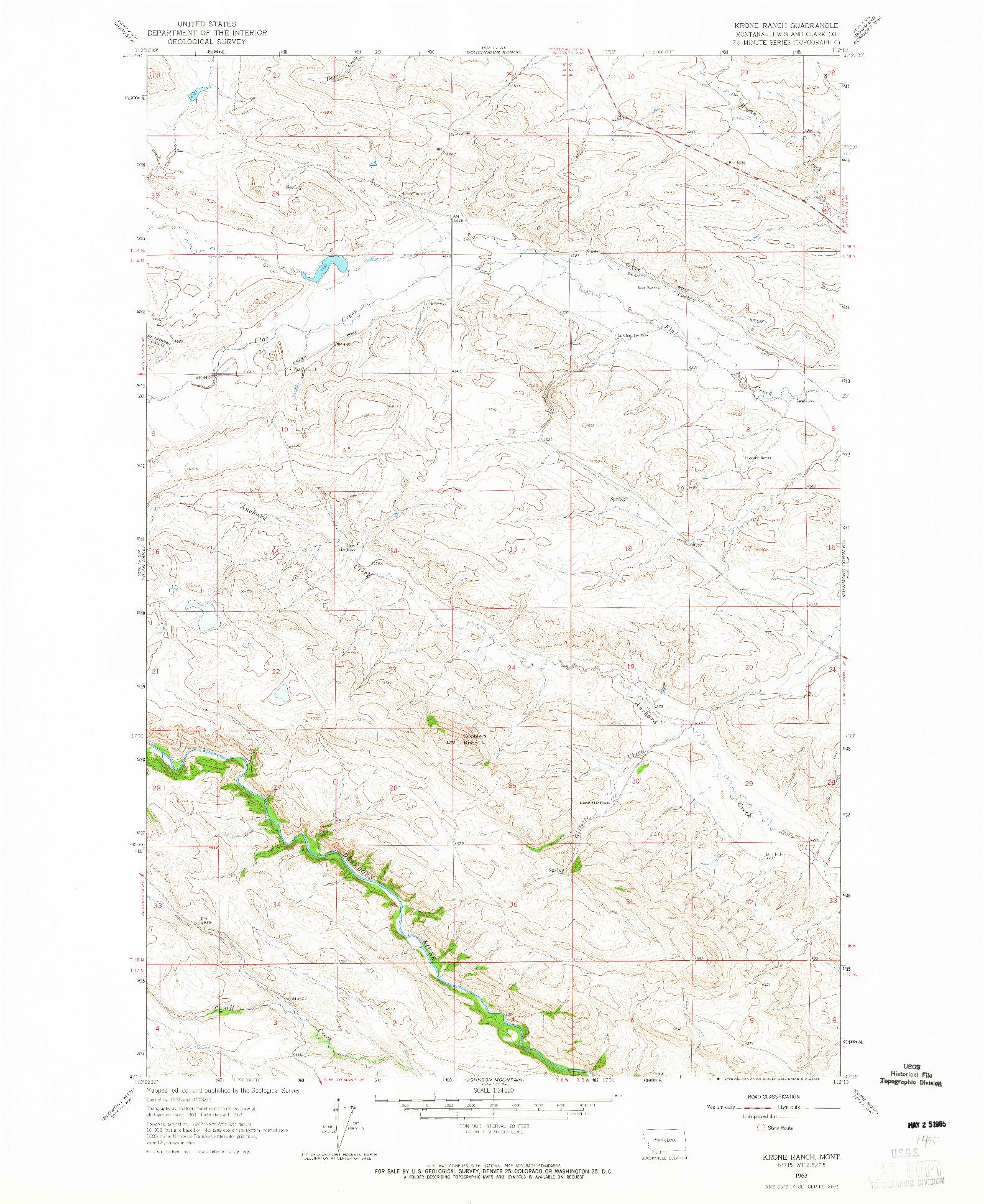 USGS 1:24000-SCALE QUADRANGLE FOR KRONE RANCH, MT 1963