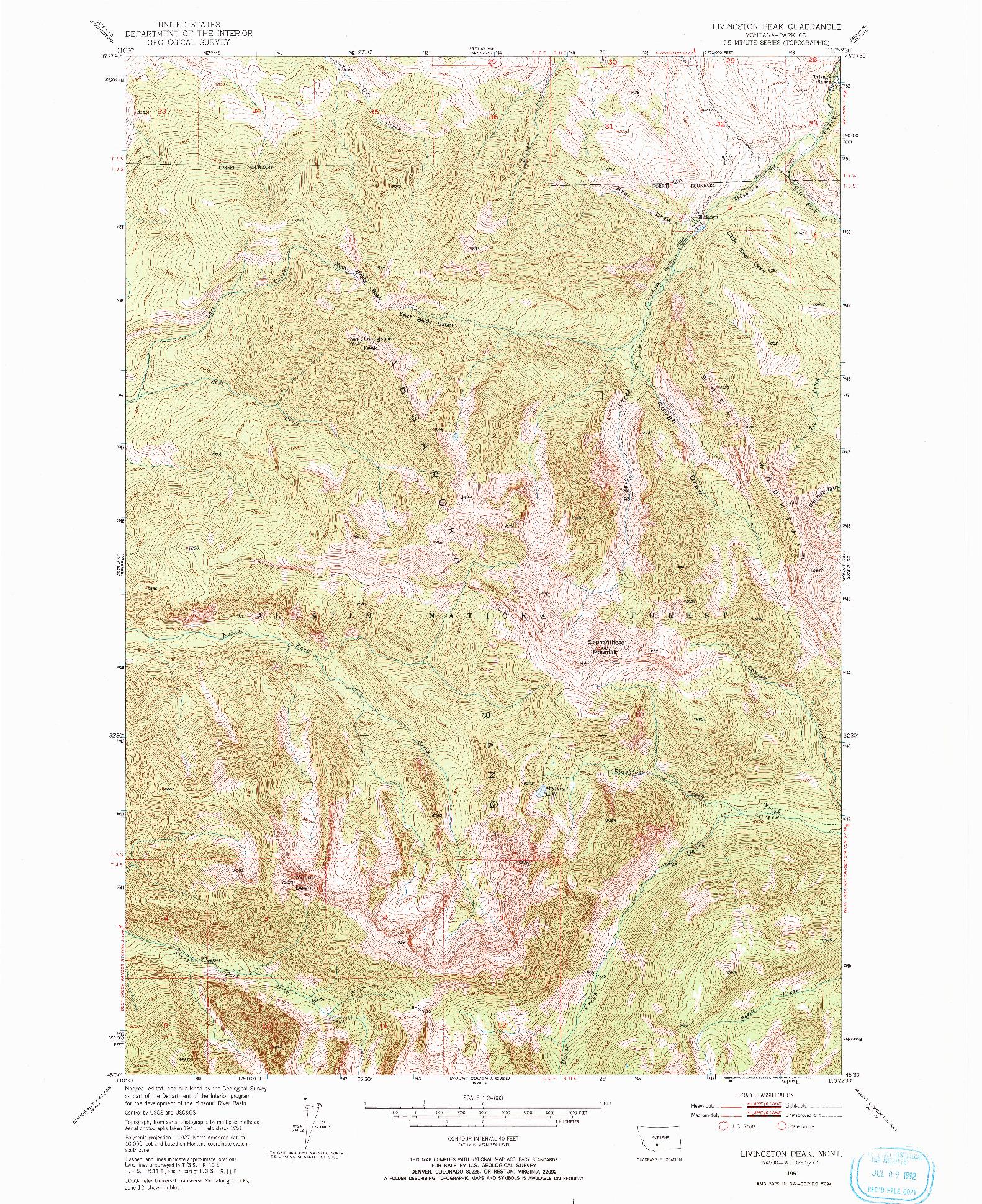 USGS 1:24000-SCALE QUADRANGLE FOR LIVINGSTON PEAK, MT 1951