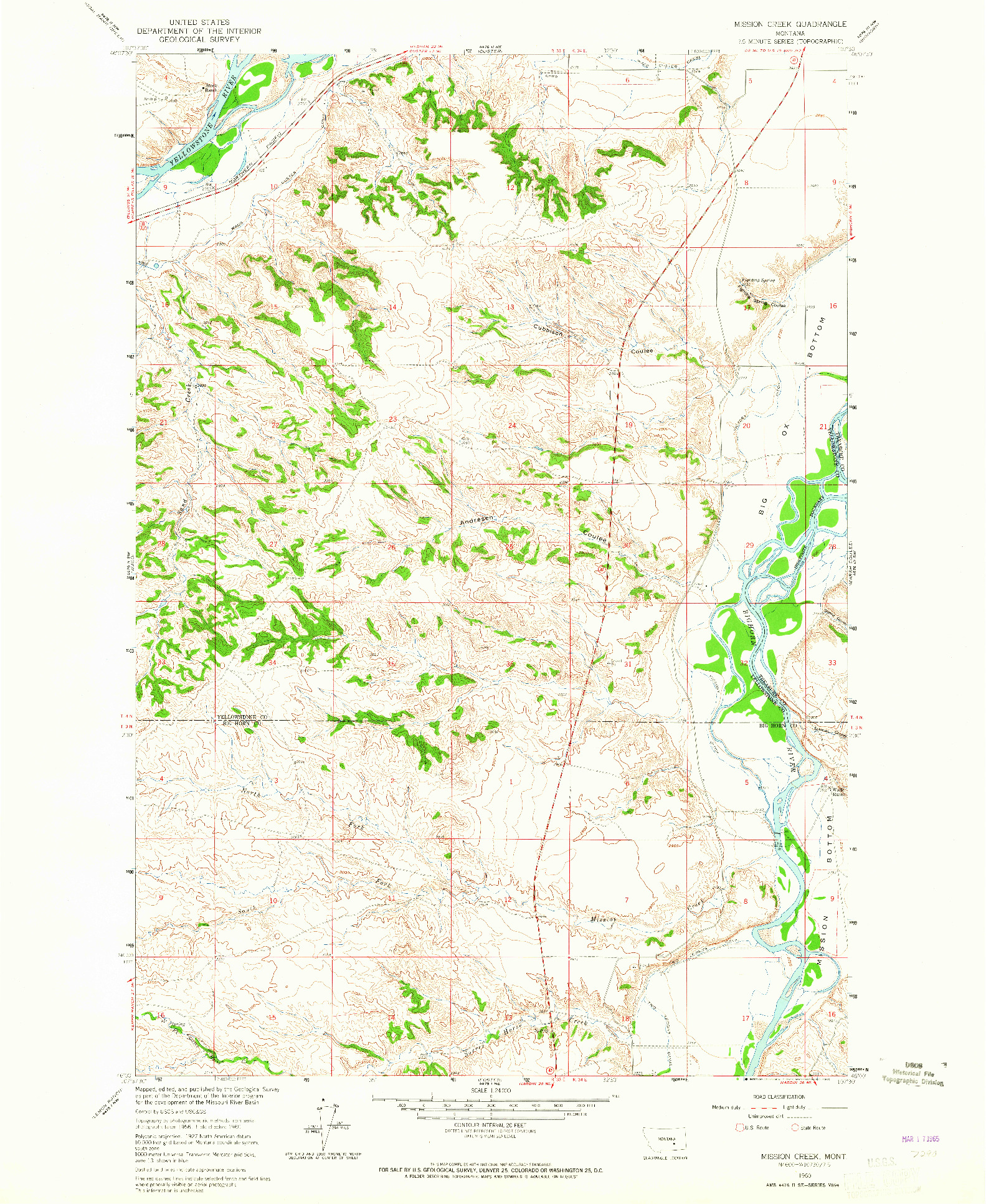 USGS 1:24000-SCALE QUADRANGLE FOR MISSION CREEK, MT 1960