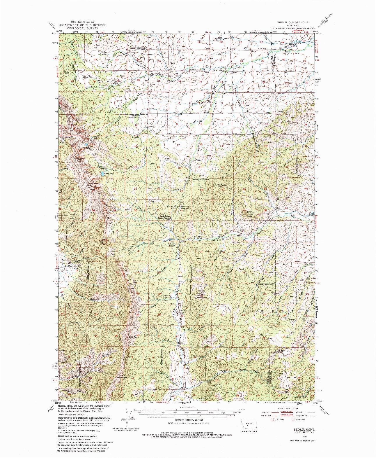 USGS 1:62500-SCALE QUADRANGLE FOR SEDAN, MT 1951