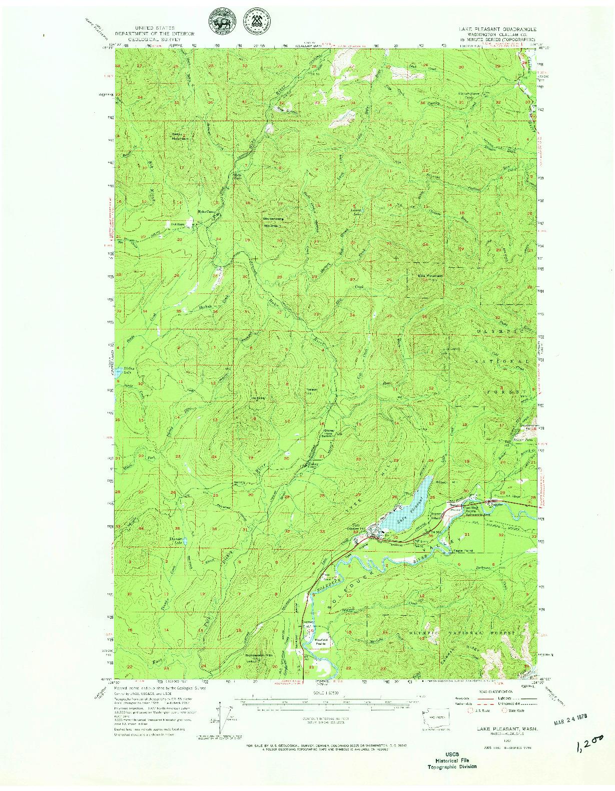 USGS 1:62500-SCALE QUADRANGLE FOR LAKE PLEASANT, WA 1957