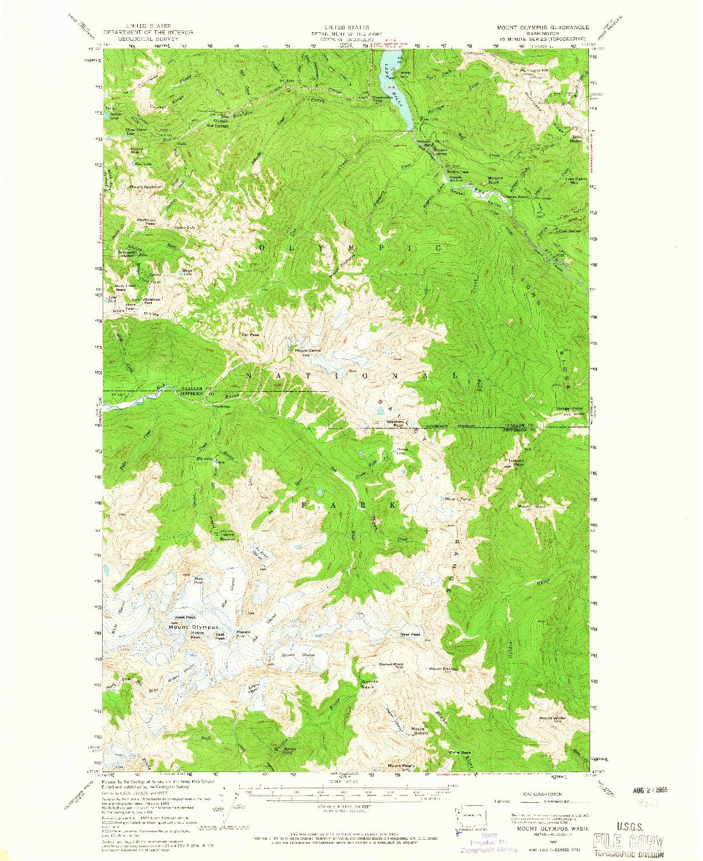USGS 1:62500-SCALE QUADRANGLE FOR MOUNT OLYMPUS, WA 1956
