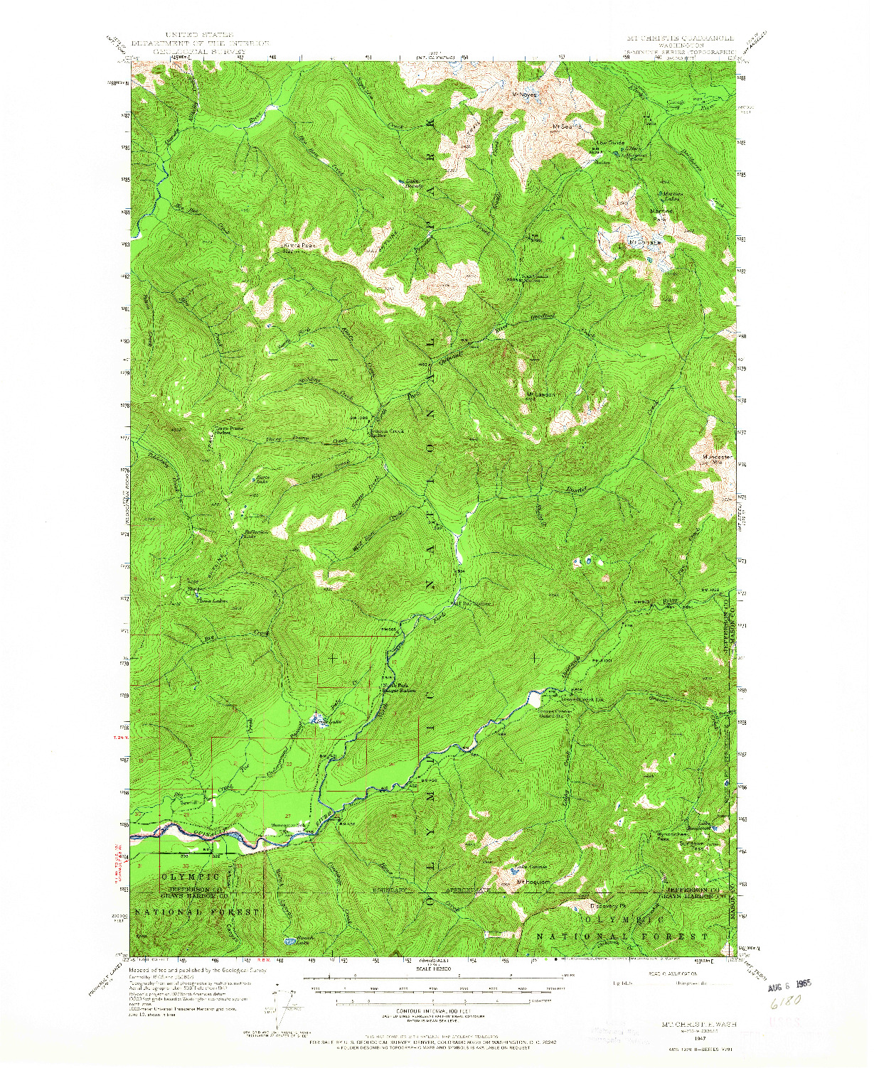 USGS 1:62500-SCALE QUADRANGLE FOR MT CHRISTIE, WA 1947