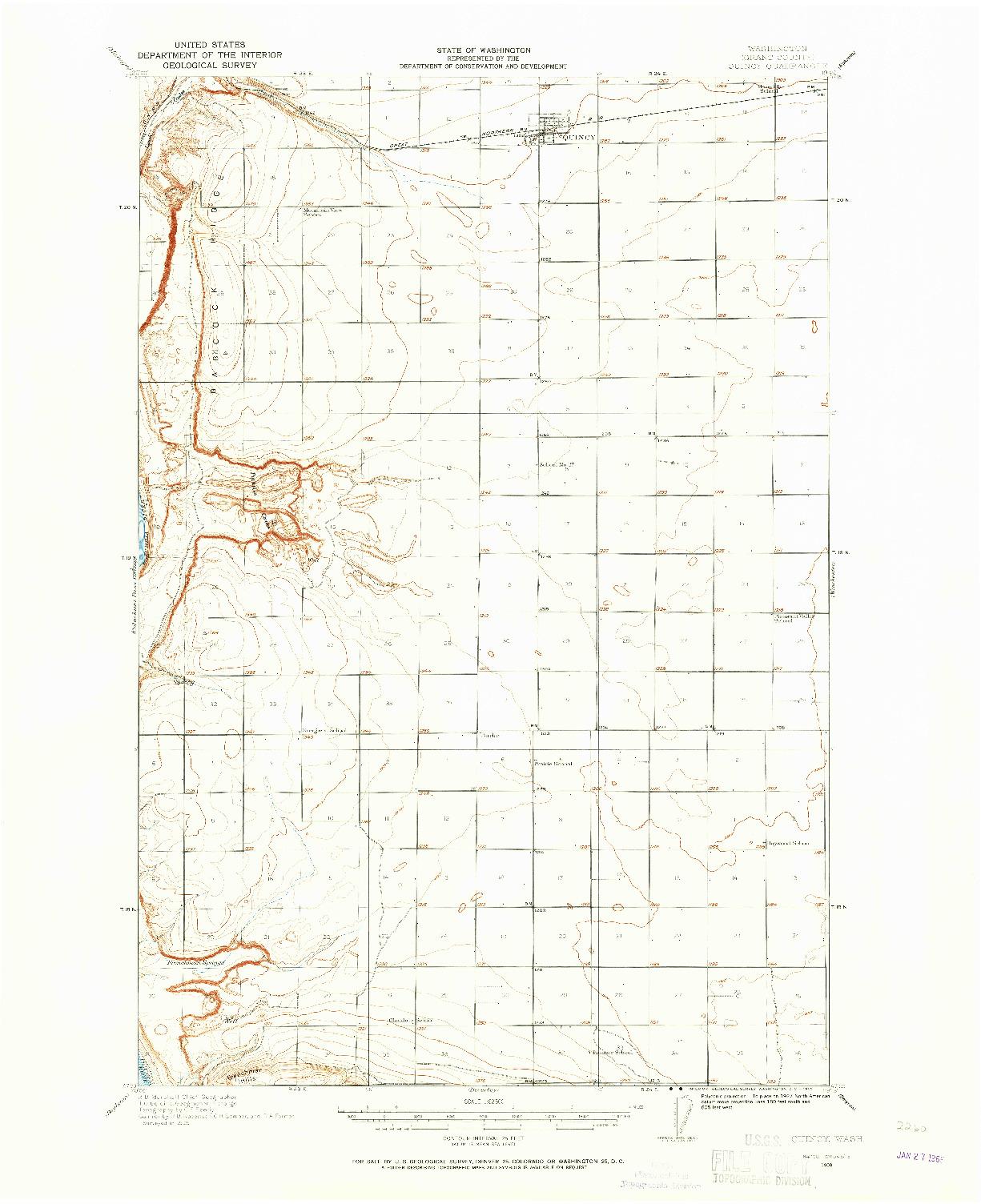 USGS 1:62500-SCALE QUADRANGLE FOR QUINCY, WA 1909