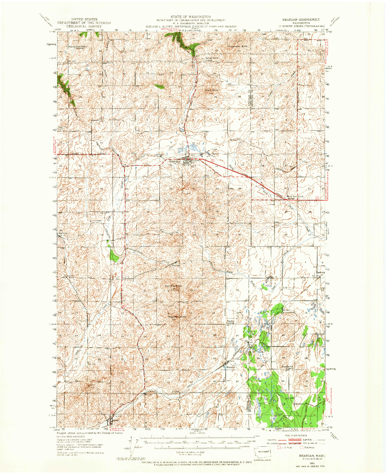 USGS 1:62500-SCALE QUADRANGLE FOR REARDAN, WA 1953