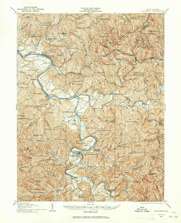 USGS 1:62500-SCALE QUADRANGLE FOR ELIZABETH, WV 1924