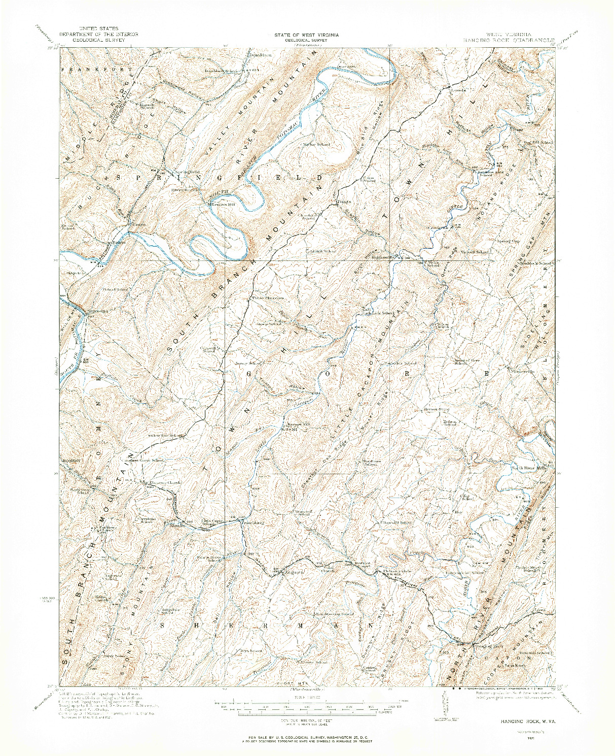 USGS 1:62500-SCALE QUADRANGLE FOR HANGING ROCK, WV 1921