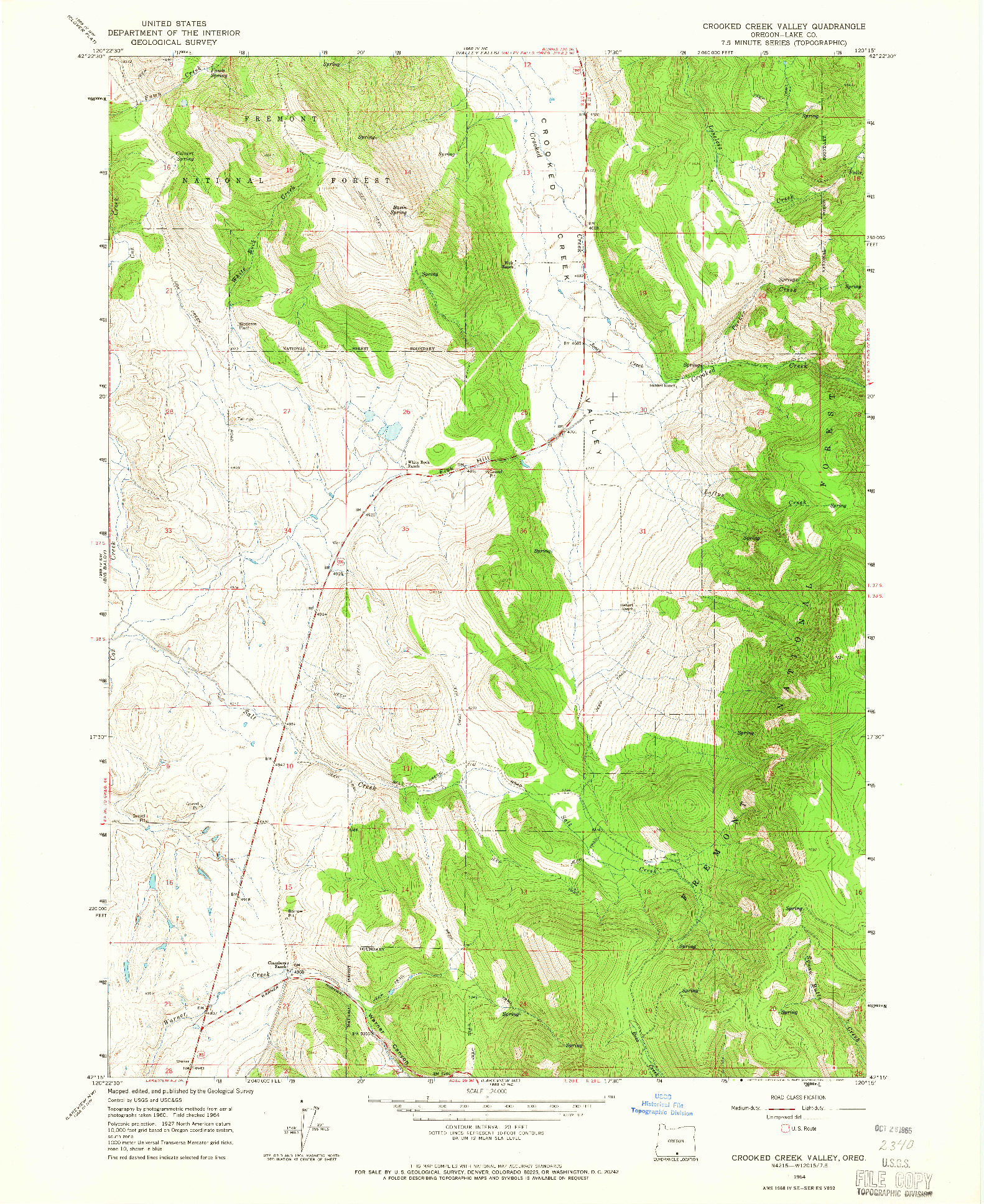 USGS 1:24000-SCALE QUADRANGLE FOR CROOKED CREEK VALLEY, OR 1964