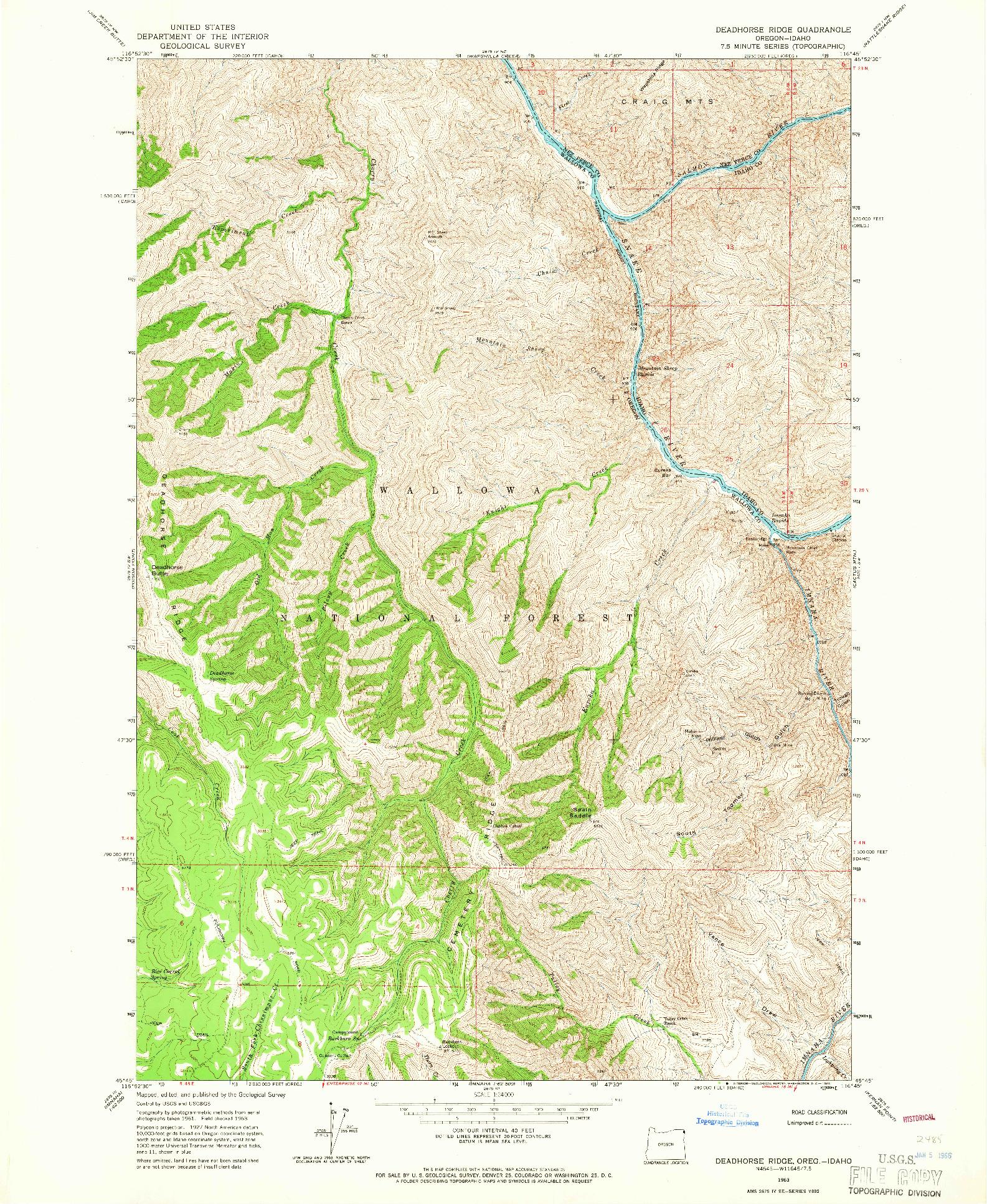 USGS 1:24000-SCALE QUADRANGLE FOR DEADHORSE RIDGE, OR 1963