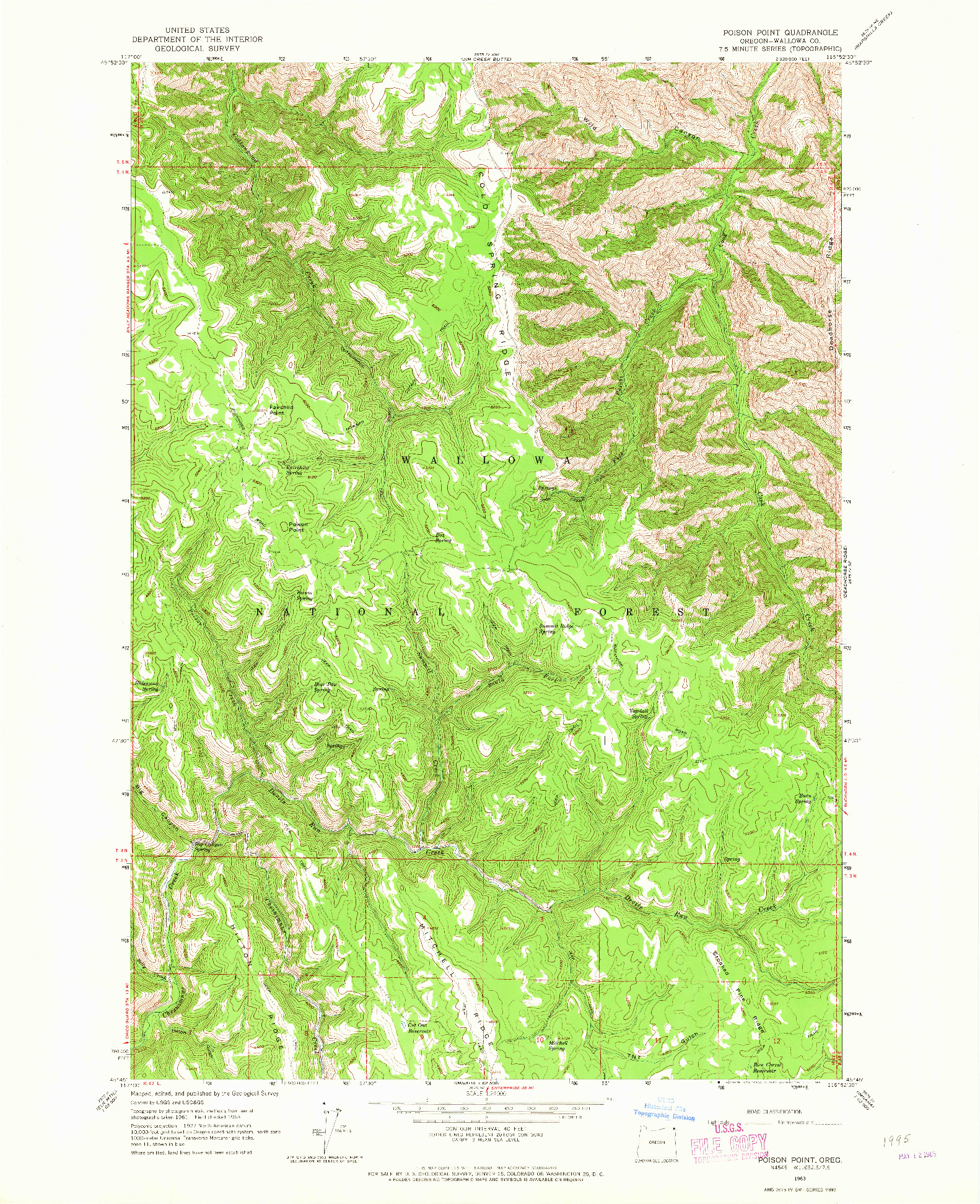 USGS 1:24000-SCALE QUADRANGLE FOR POISON POINT, OR 1963