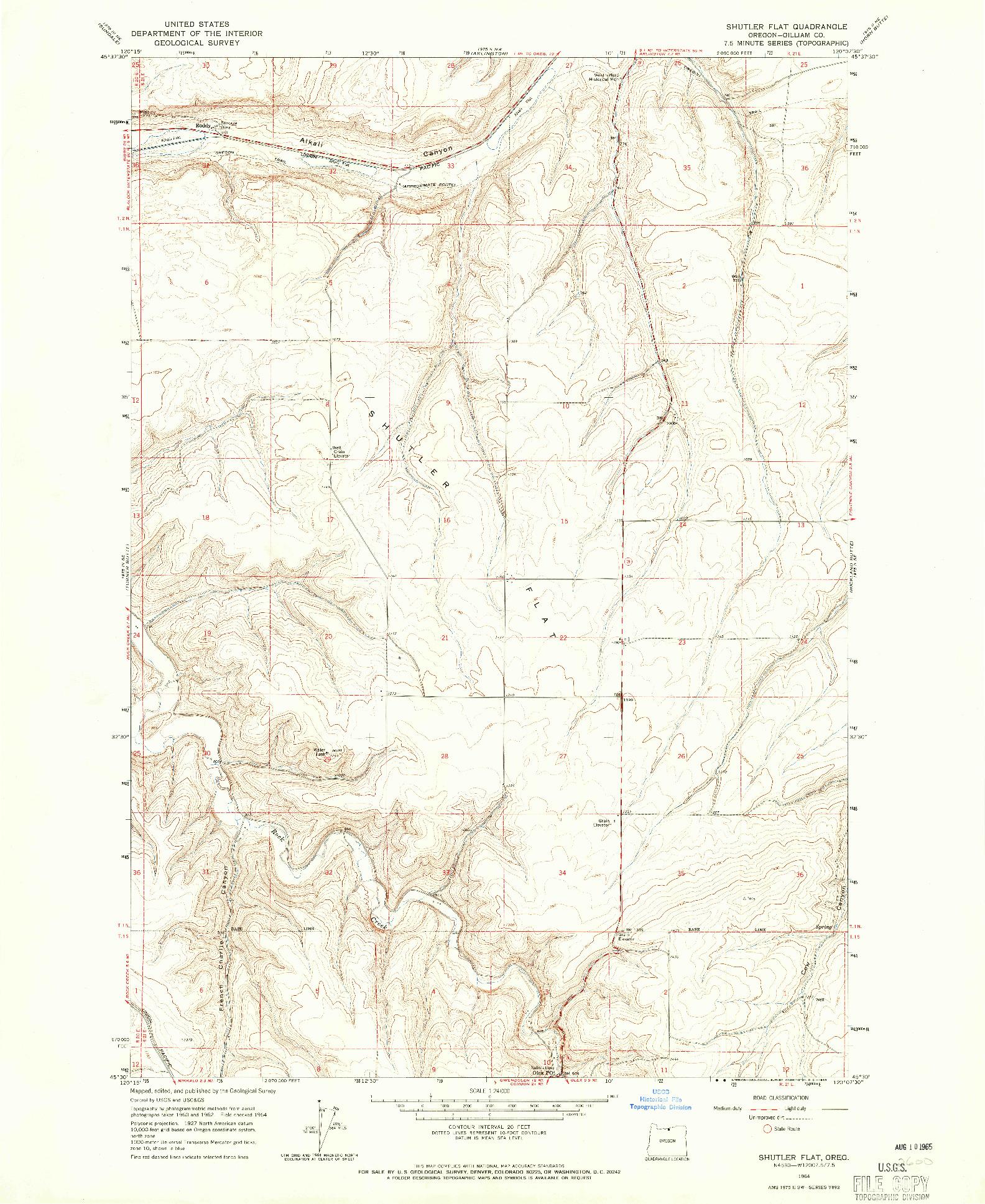 USGS 1:24000-SCALE QUADRANGLE FOR SHUTLER FLAT, OR 1964