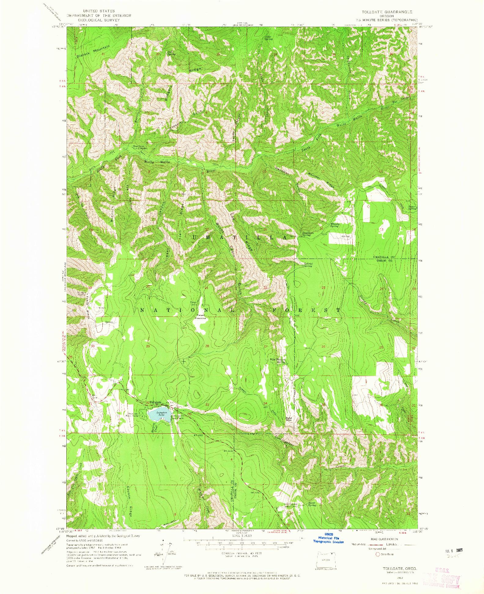 USGS 1:24000-SCALE QUADRANGLE FOR TOLLGATE, OR 1963