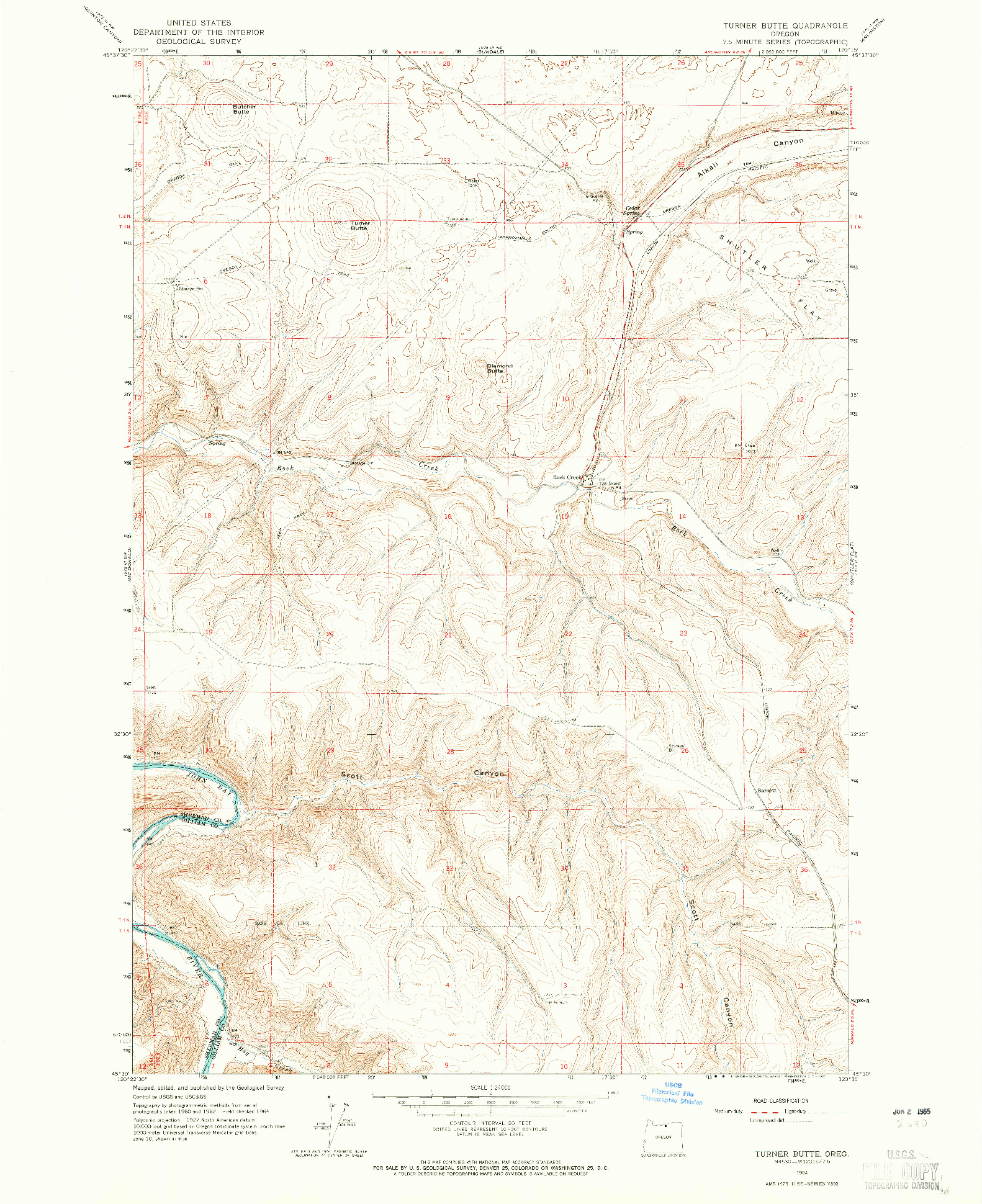 USGS 1:24000-SCALE QUADRANGLE FOR TURNER BUTTE, OR 1964