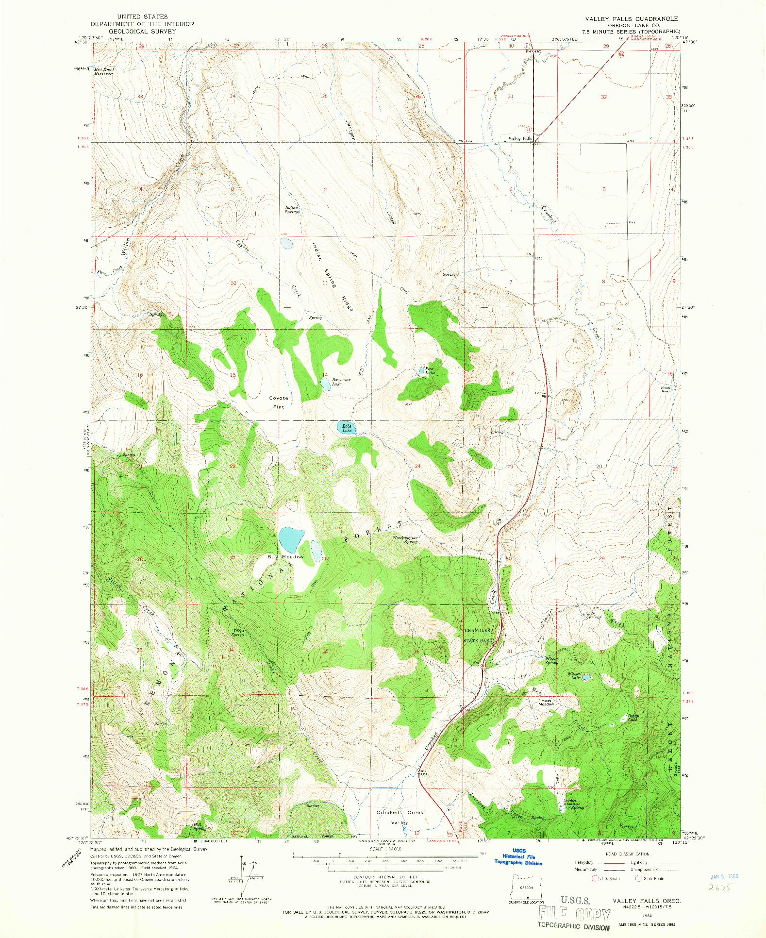 USGS 1:24000-SCALE QUADRANGLE FOR VALLEY FALLS, OR 1964