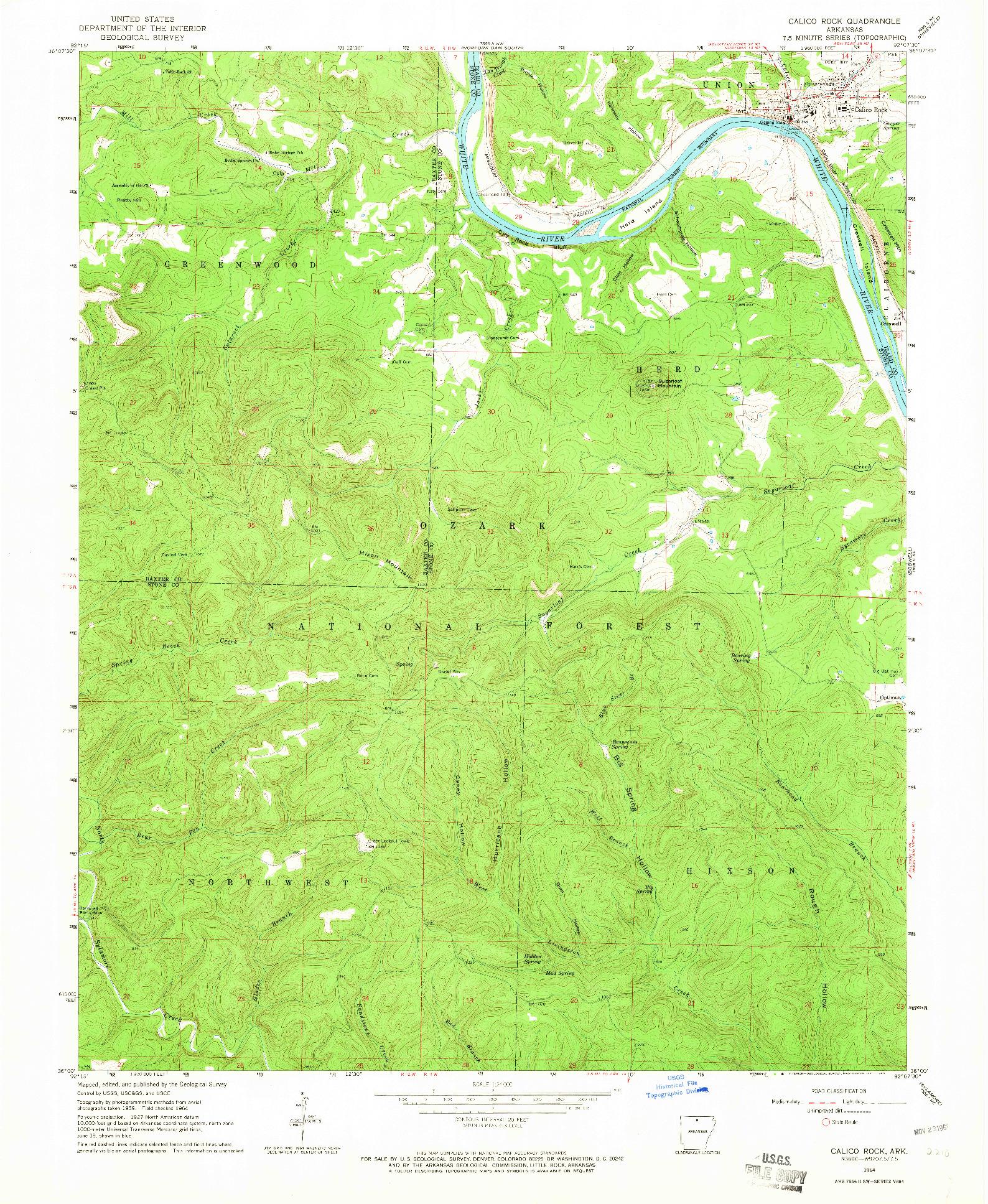 USGS 1:24000-SCALE QUADRANGLE FOR CALICO ROCK, AR 1964